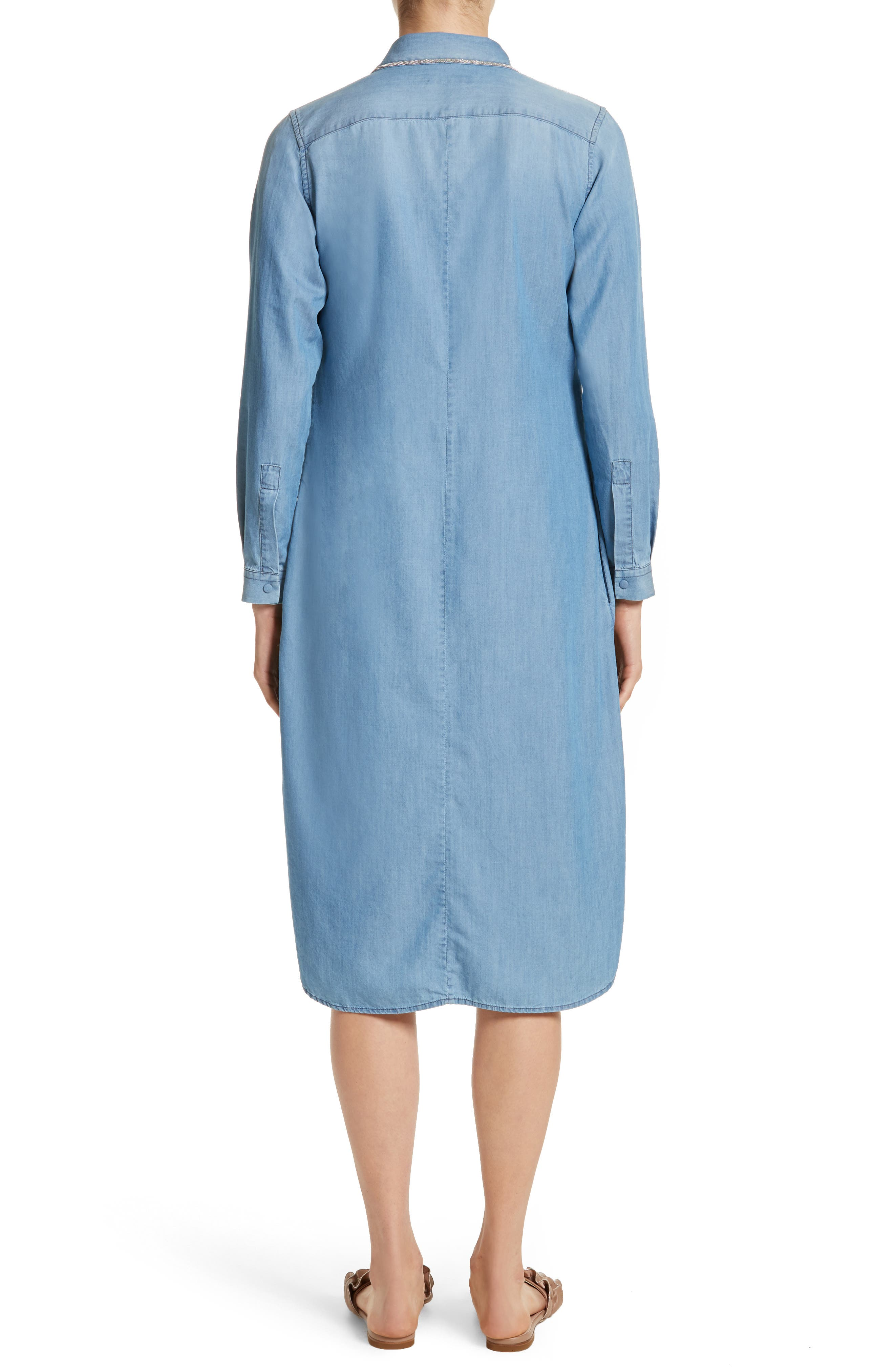 Cotton & Cashmere Chambray Shirtdress,                             Alternate thumbnail 2, color,                             Denim Blue