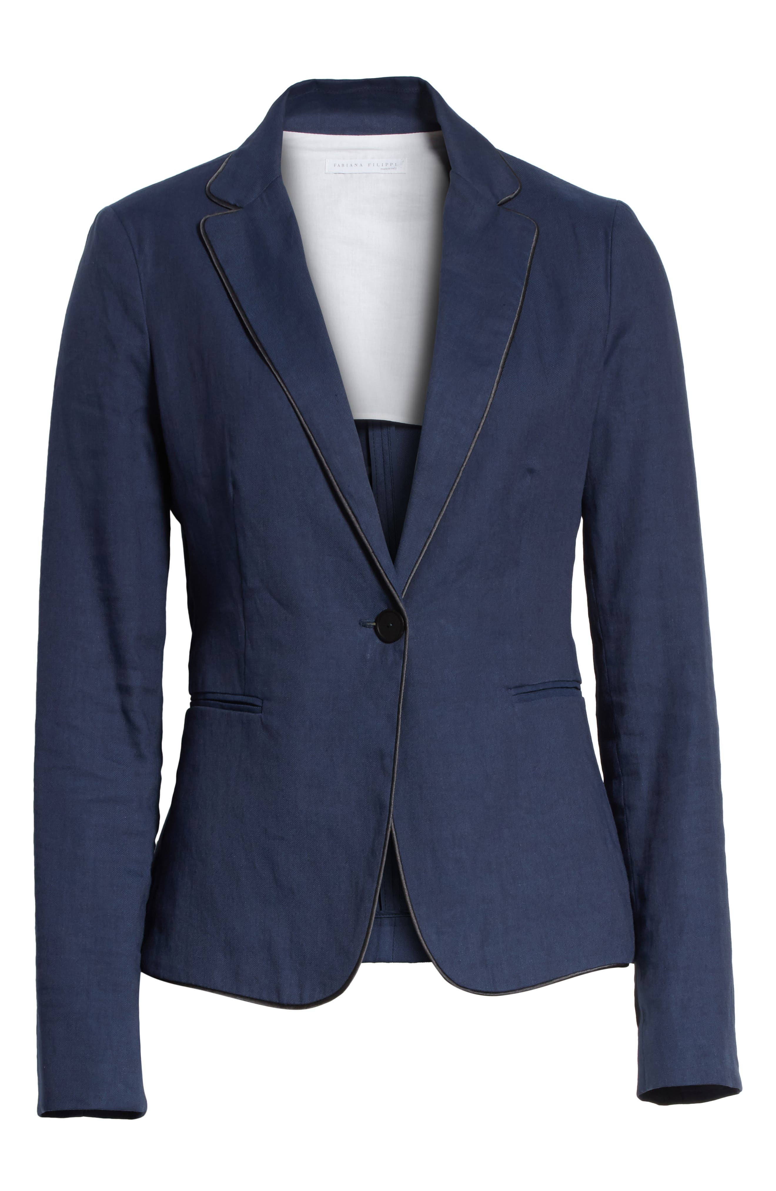 Piped Linen & Cotton Blend Blazer,                             Alternate thumbnail 7, color,                             Navy