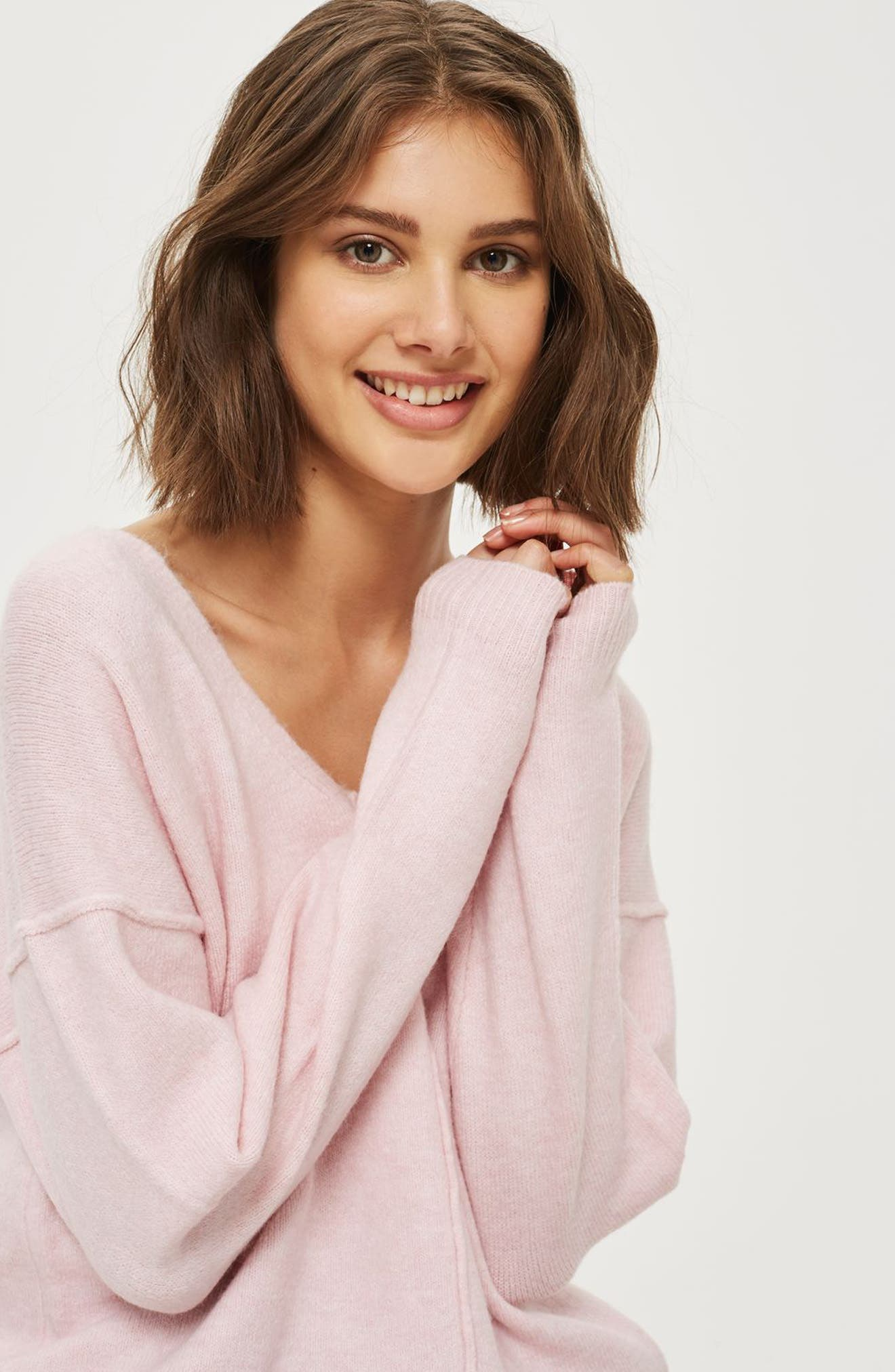 Exposed Seam Longline Sweater,                             Alternate thumbnail 2, color,                             Pink