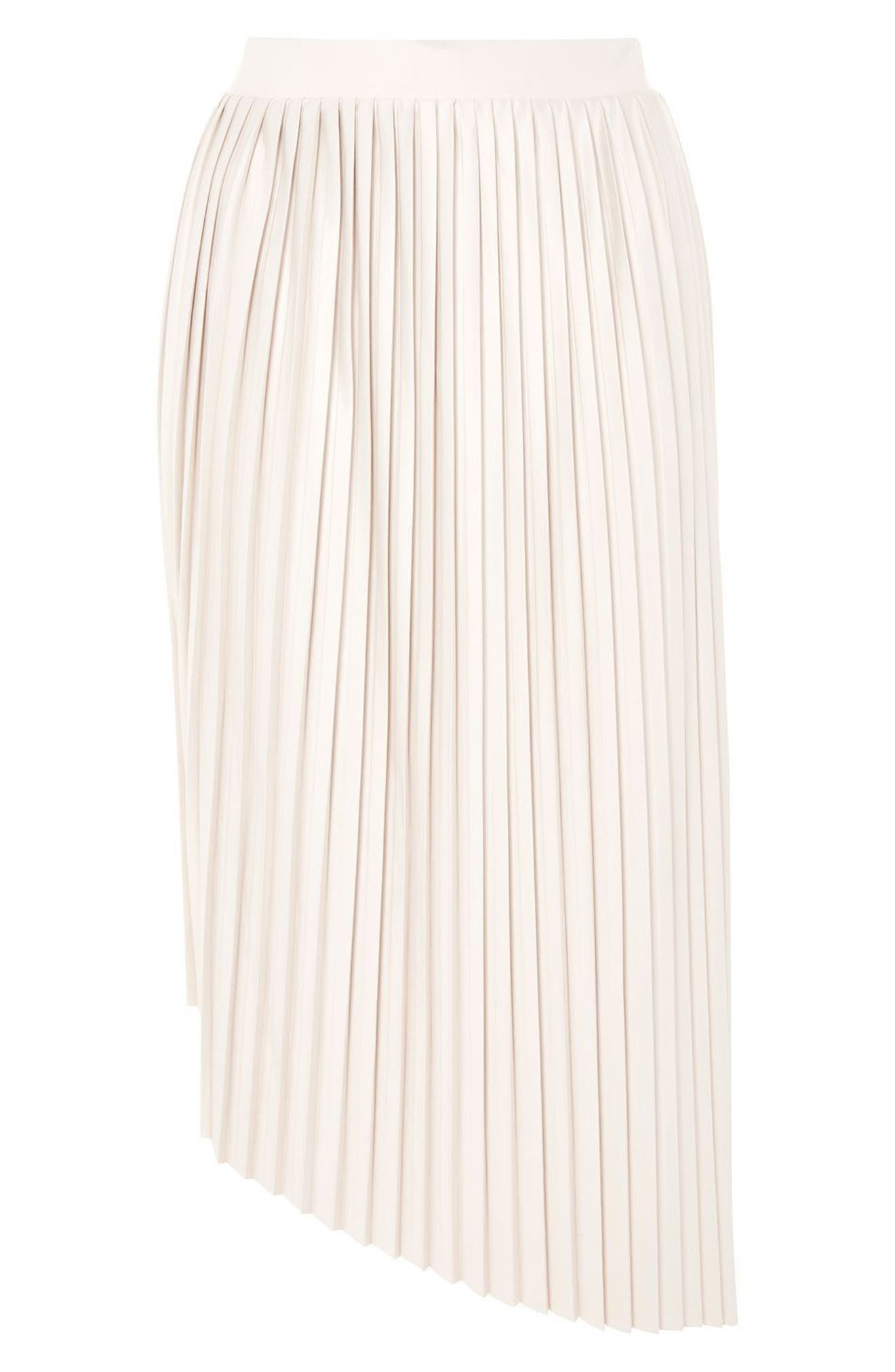 Asymmetrical Pleat Midi Skirt,                             Alternate thumbnail 3, color,                             Beige