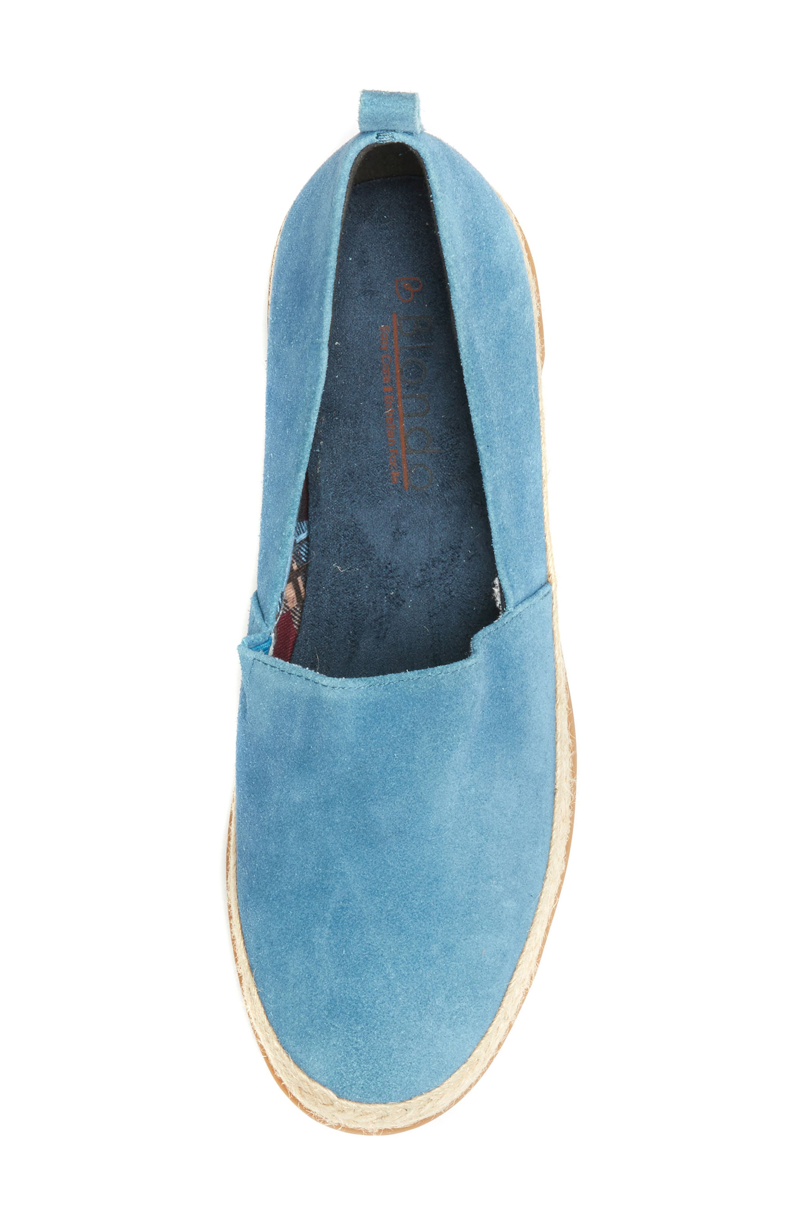 Bailey Espadrille Flat,                             Alternate thumbnail 5, color,                             Blue Suede