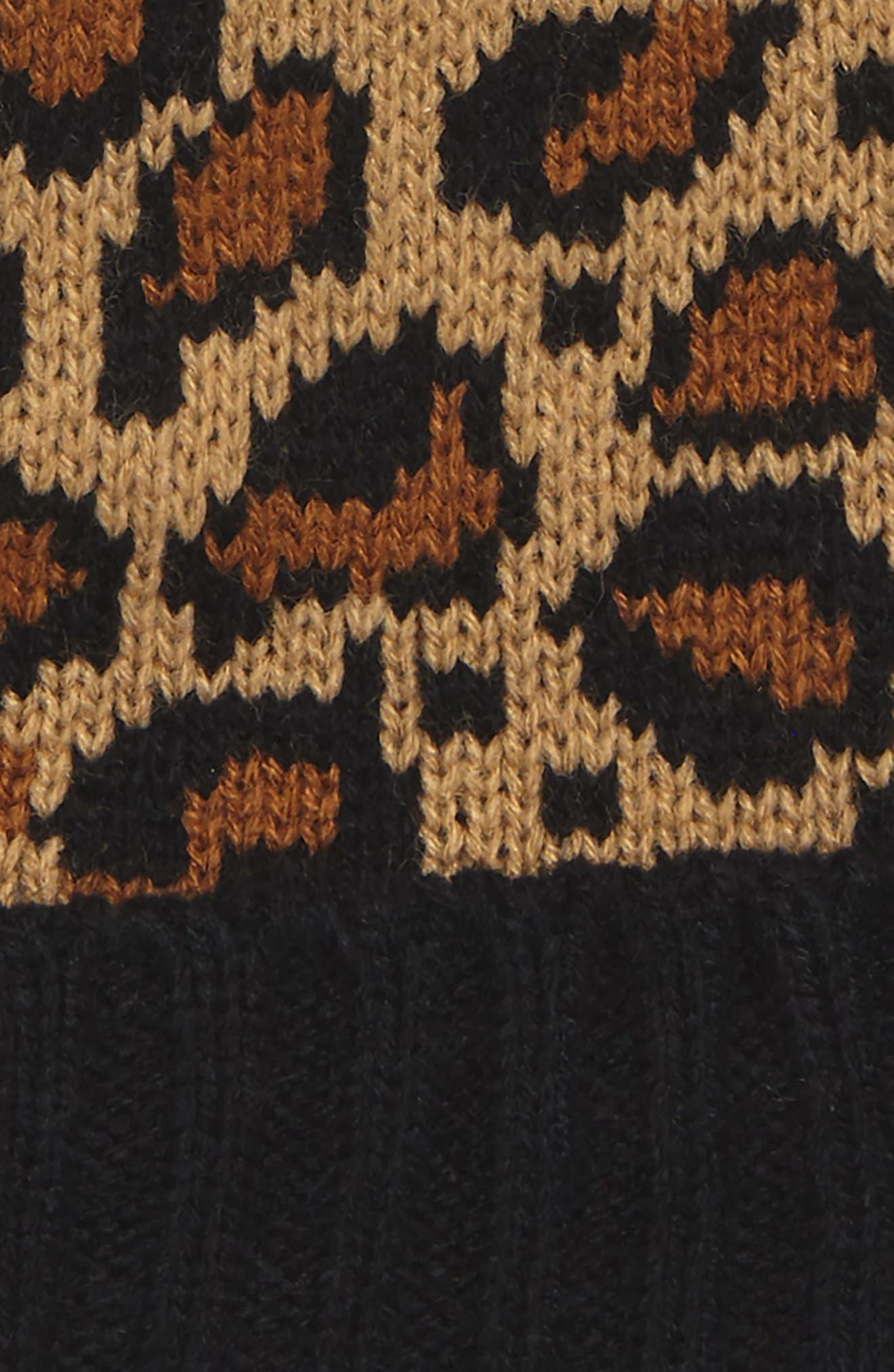 Leopard Pompom Beanie,                             Alternate thumbnail 2, color,                             Brown Multi