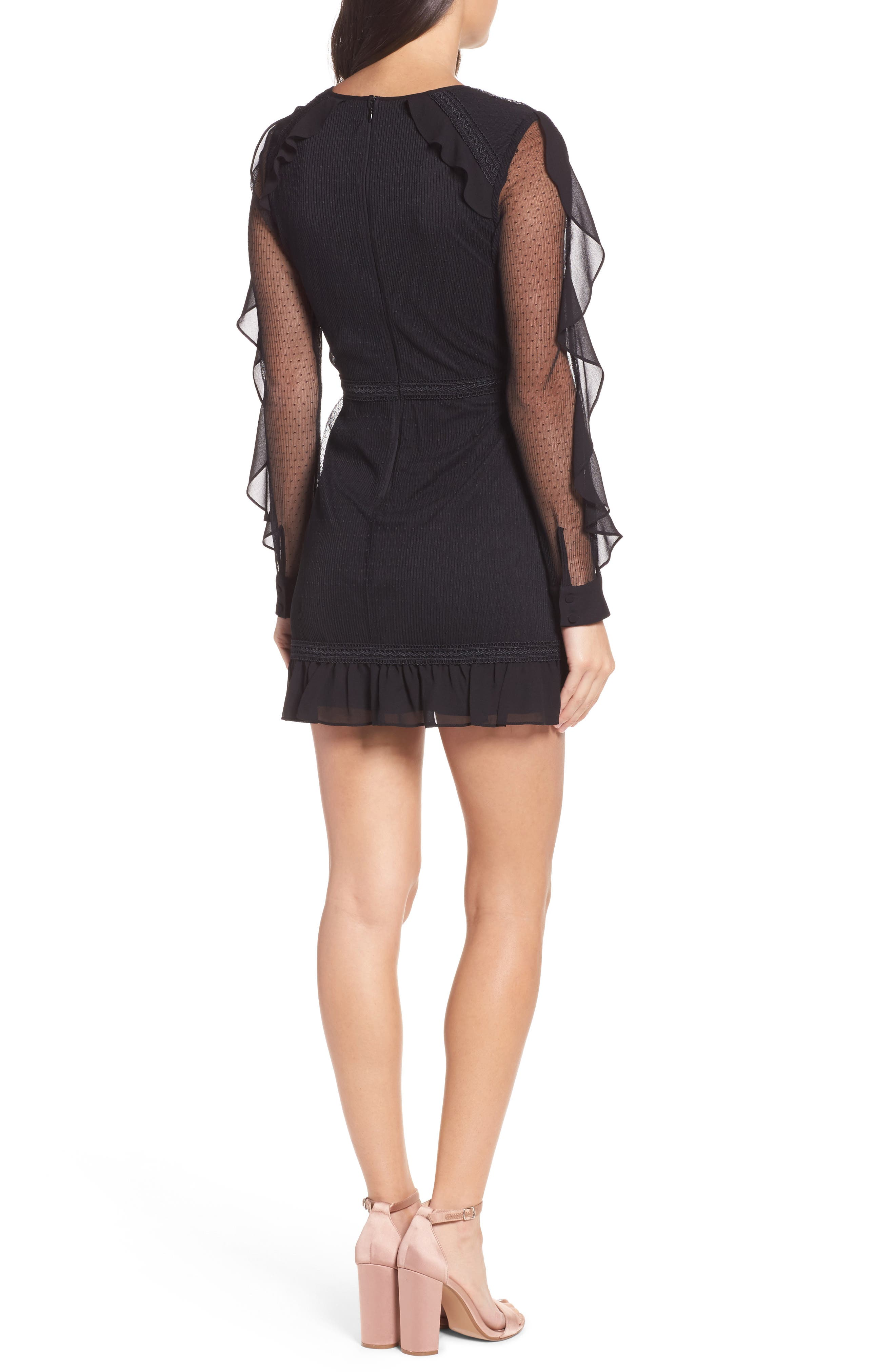 Faith Chiffon & Mesh Minidress,                             Alternate thumbnail 2, color,                             Black