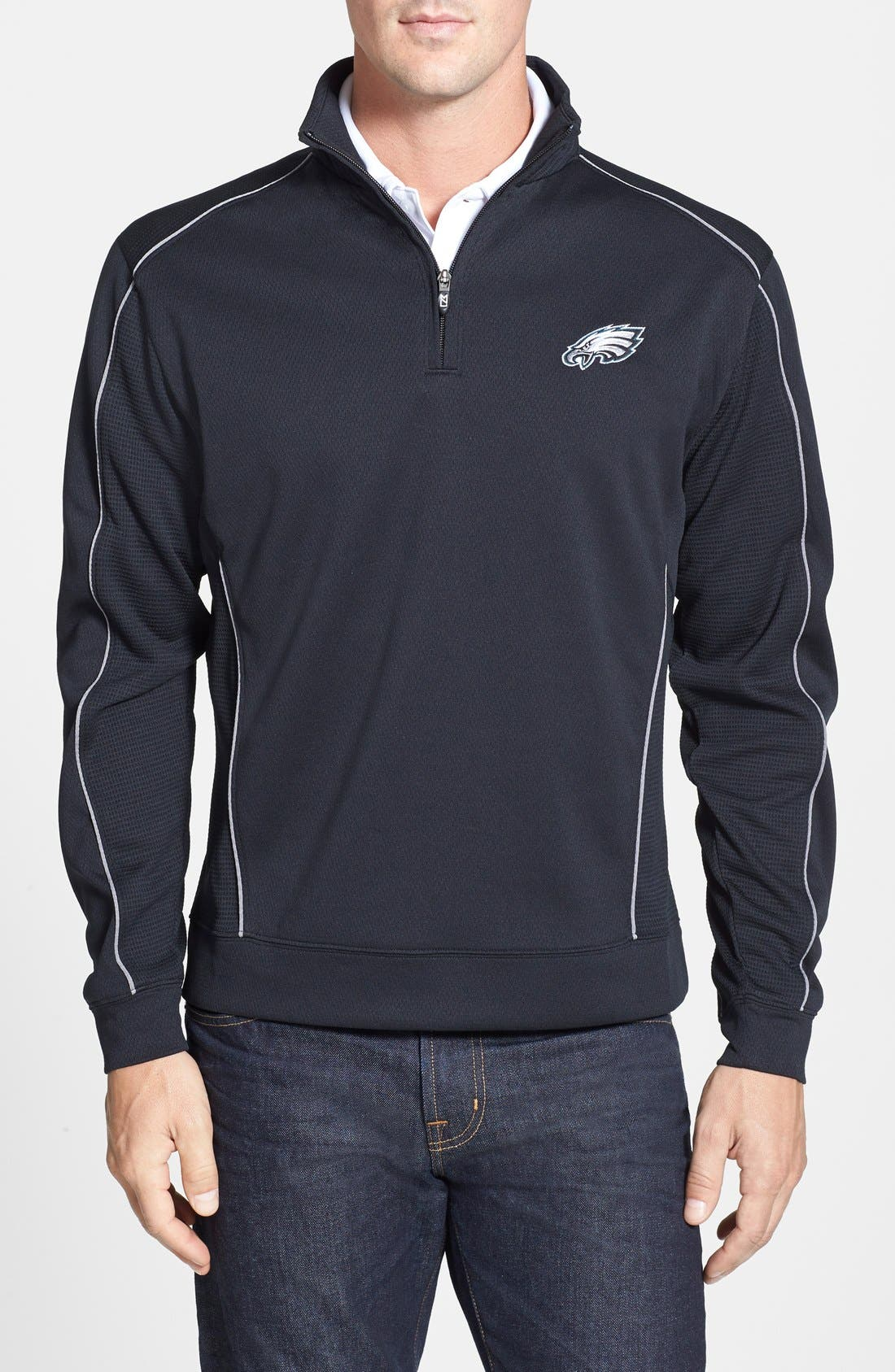 Cutter & Buck 'Philadelphia Eagles - Edge' DryTec Moisture Wicking Half Zip Pullover (Big & Tall)