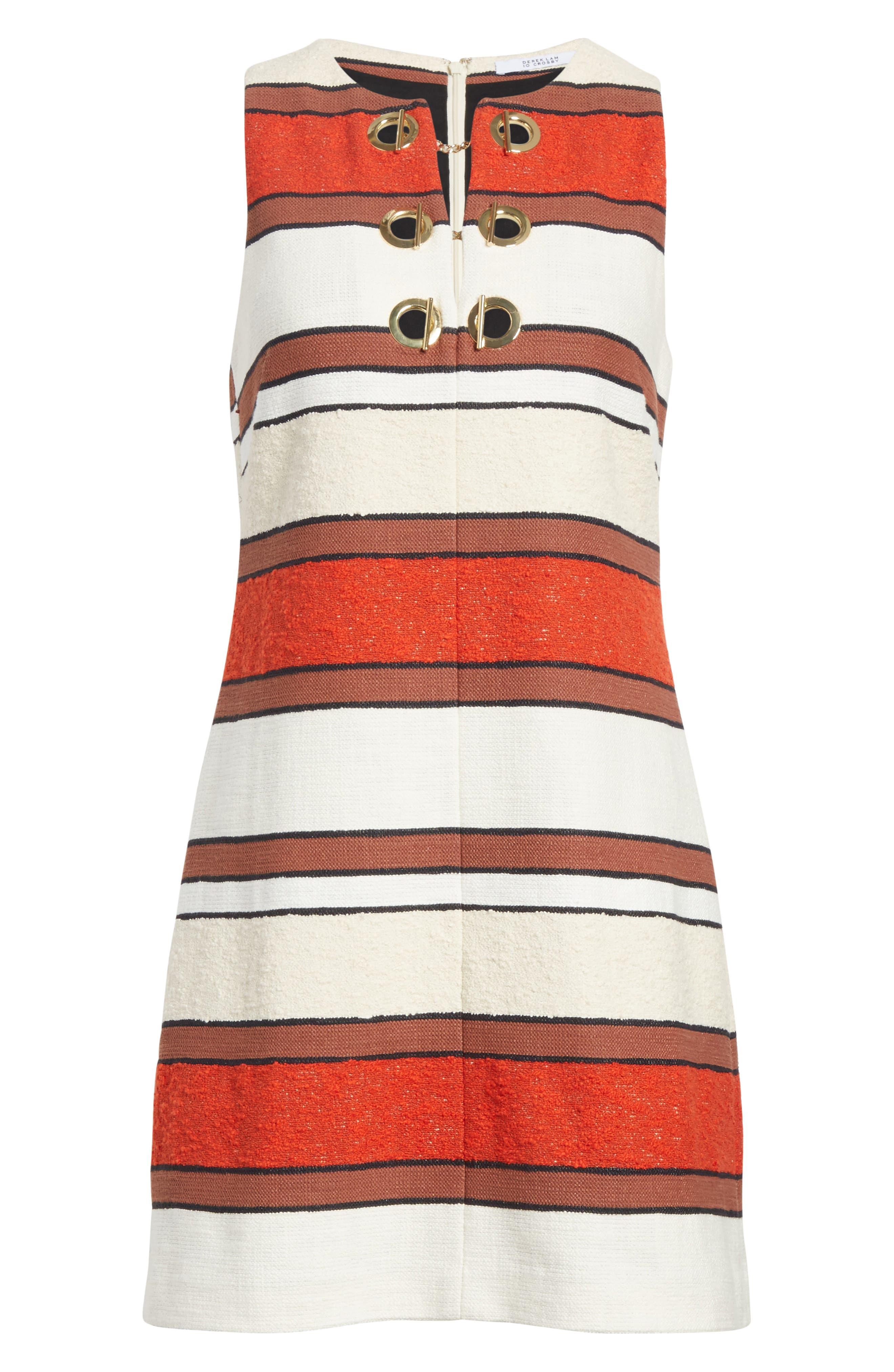 Grommet Detail Stripe Shift Dress,                             Alternate thumbnail 6, color,                             Poppy