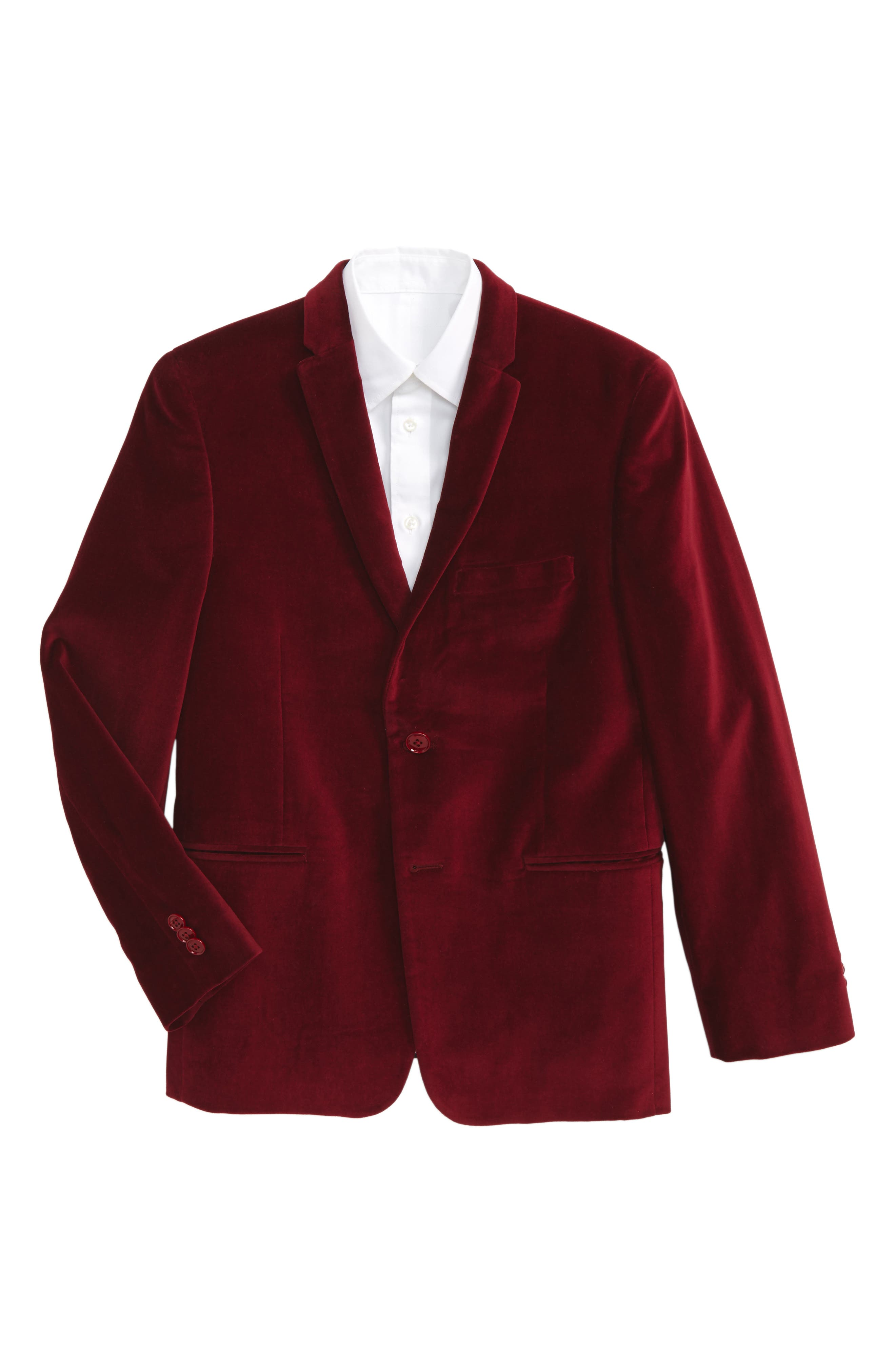 Velvet Blazer,                         Main,                         color, Red