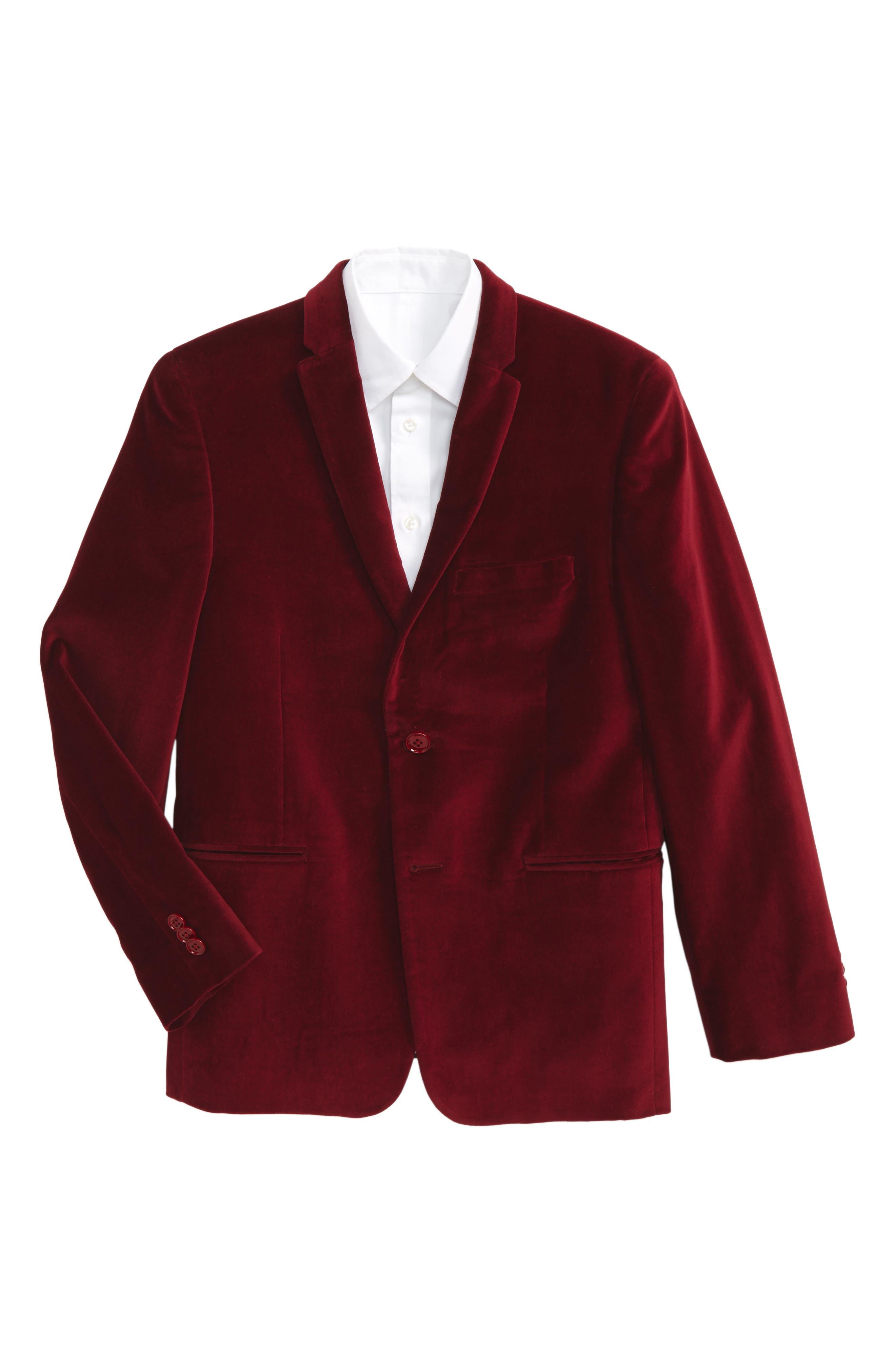 Velvet Blazer,                         Main,                         color, Red