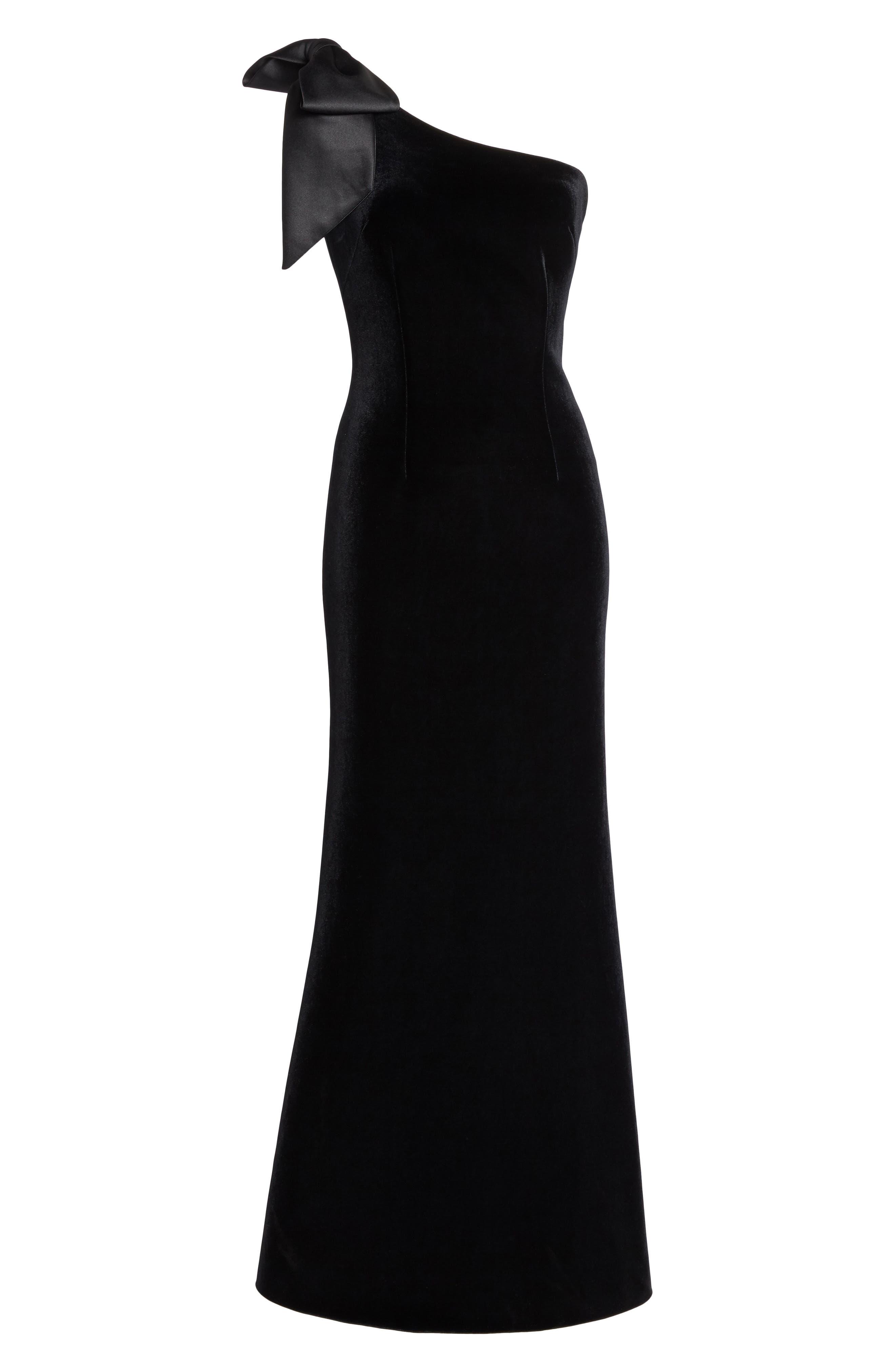 Bow One-Shoulder Velvet Gown,                             Alternate thumbnail 7, color,                             Black