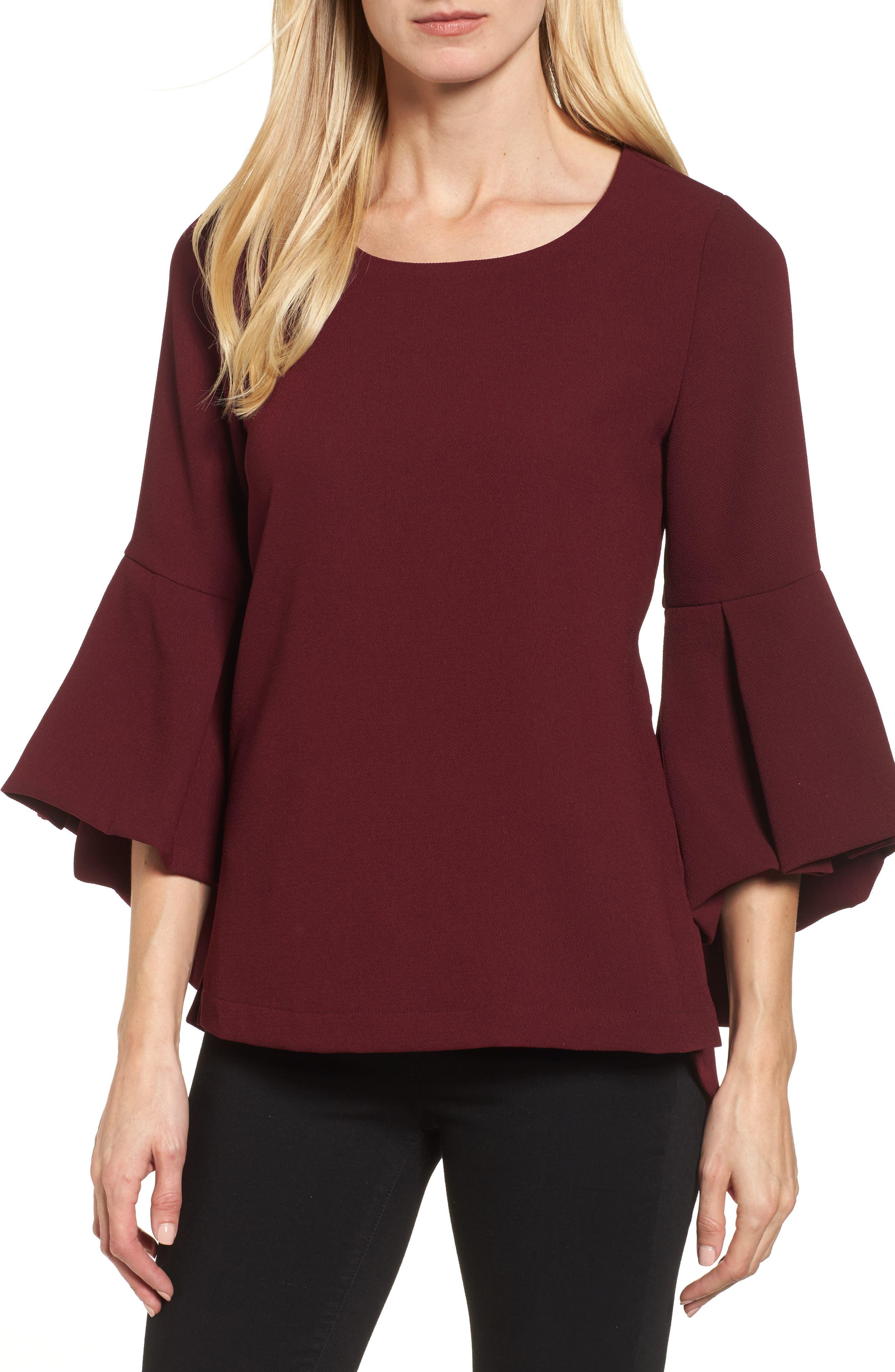 Bell Sleeve High/Low Top,                         Main,                         color, Burgundy Stem