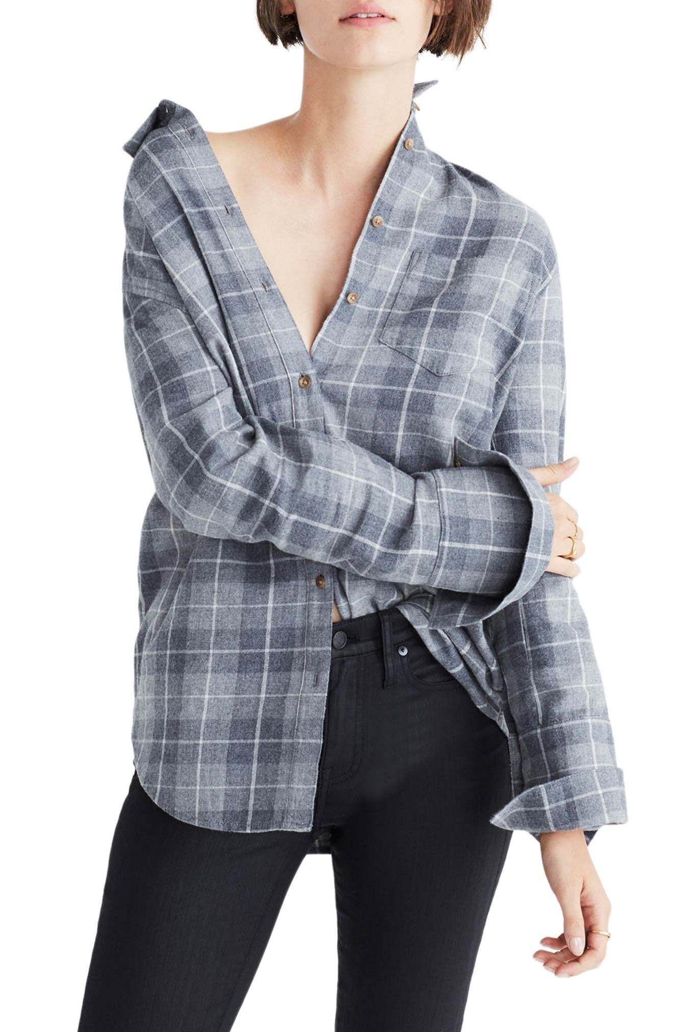 Bristol Plaid Flannel Shirt,                             Main thumbnail 1, color,                             Steel Morning
