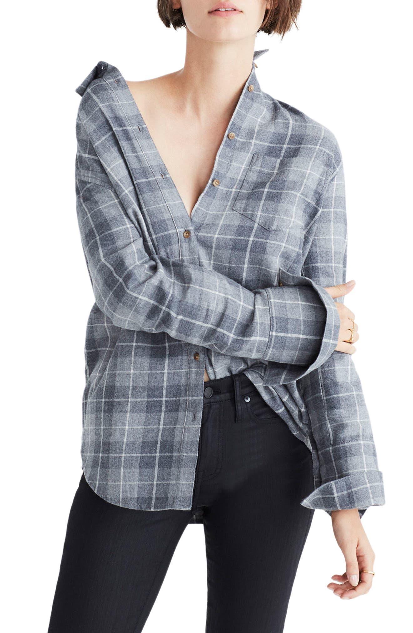 Bristol Plaid Flannel Shirt,                         Main,                         color, Steel Morning