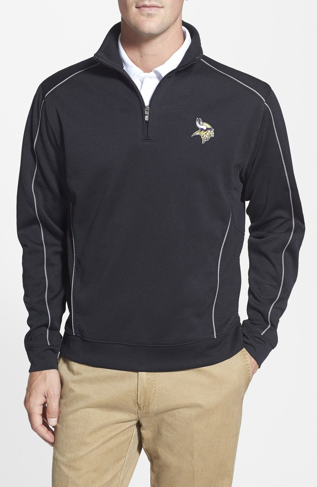 Cutter & Buck 'Minnesota Vikings - Edge' DryTec Moisture Wicking Half Zip Pullover (Big & Tall)