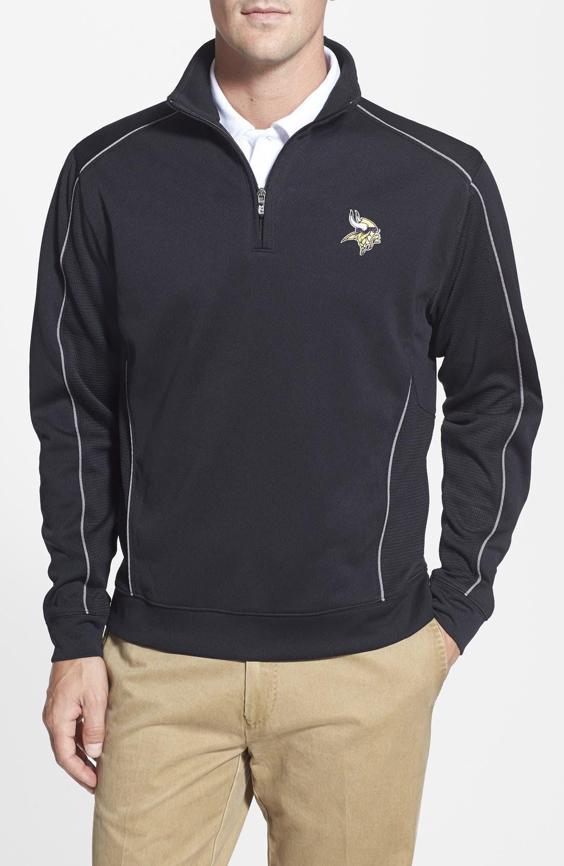 Cutter & Buck Minnesota Vikings - Edge DryTec Moisture Wicking Half Zip Pullover