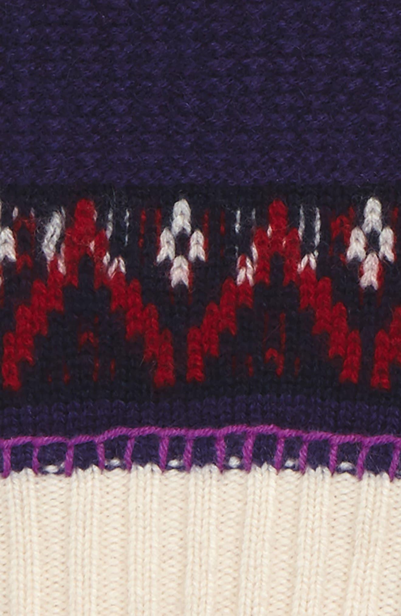 Fair Isle Fingerless Gloves,                             Alternate thumbnail 2, color,                             Purple Grape