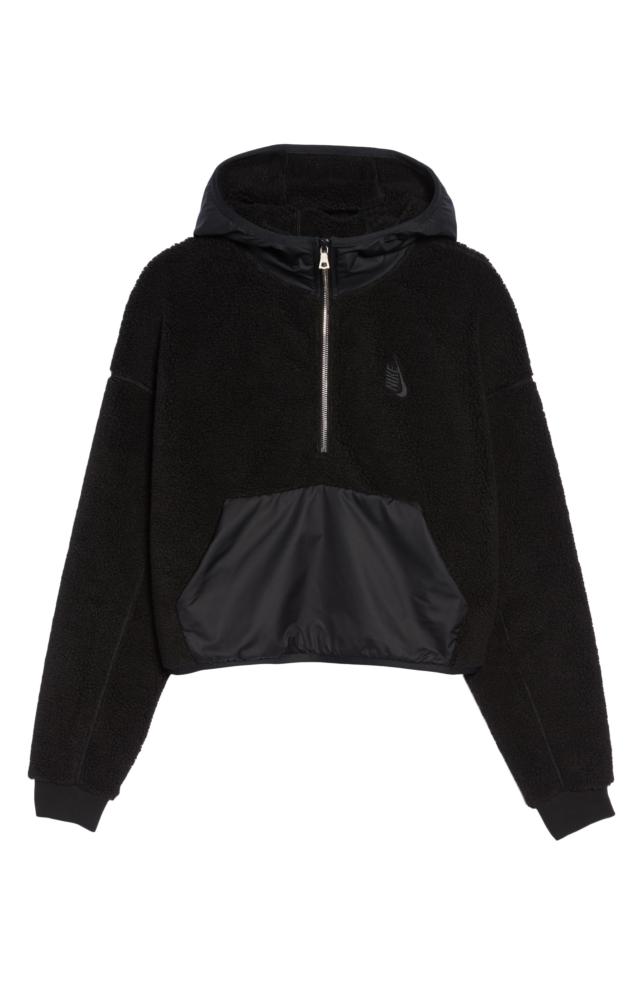 NikeLab Essential Half Zip Fleece Hoodie,                             Alternate thumbnail 7, color,                             Black/ Black