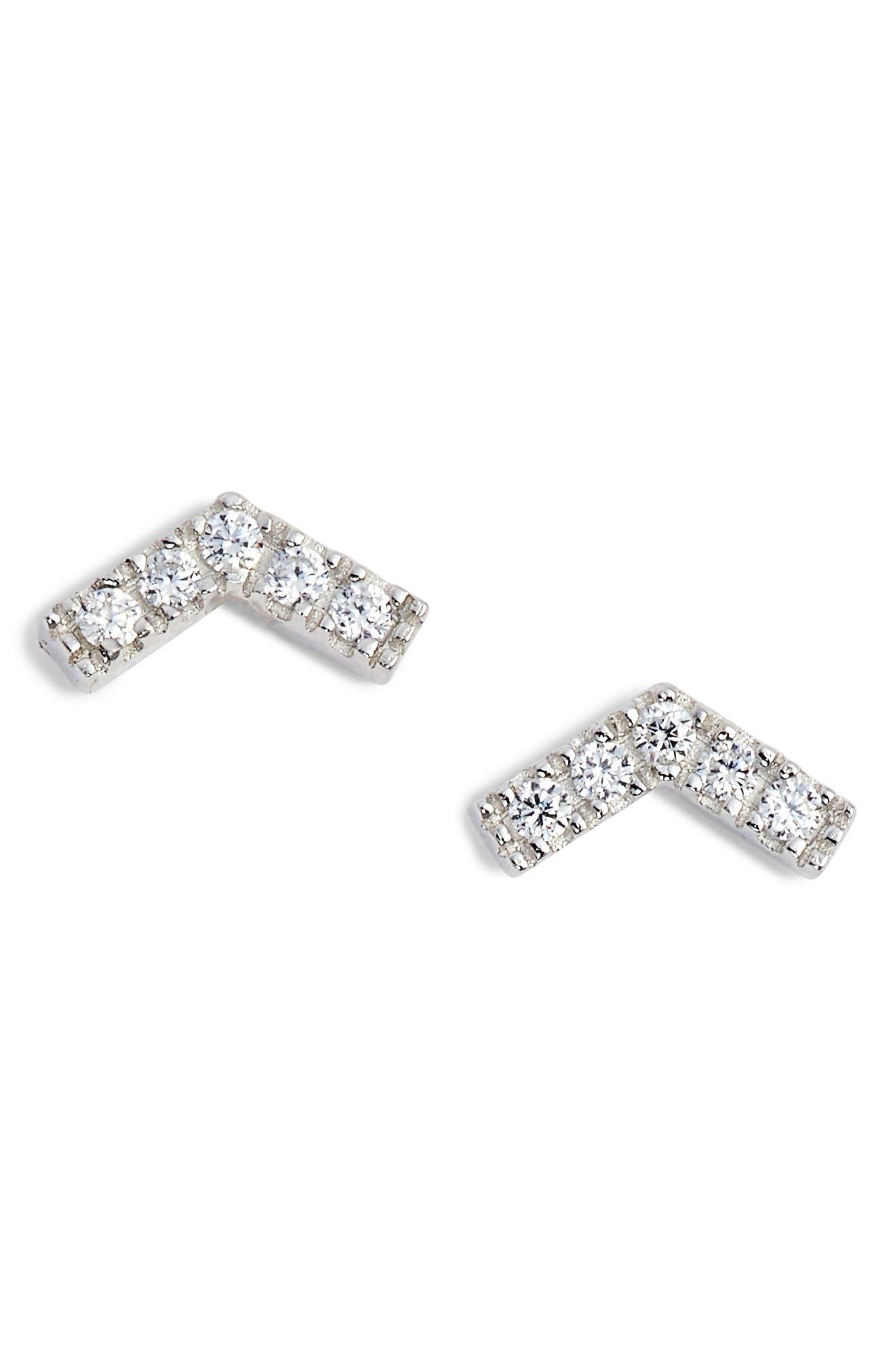 Chevron Stud Earrings,                             Main thumbnail 1, color,                             Platinum