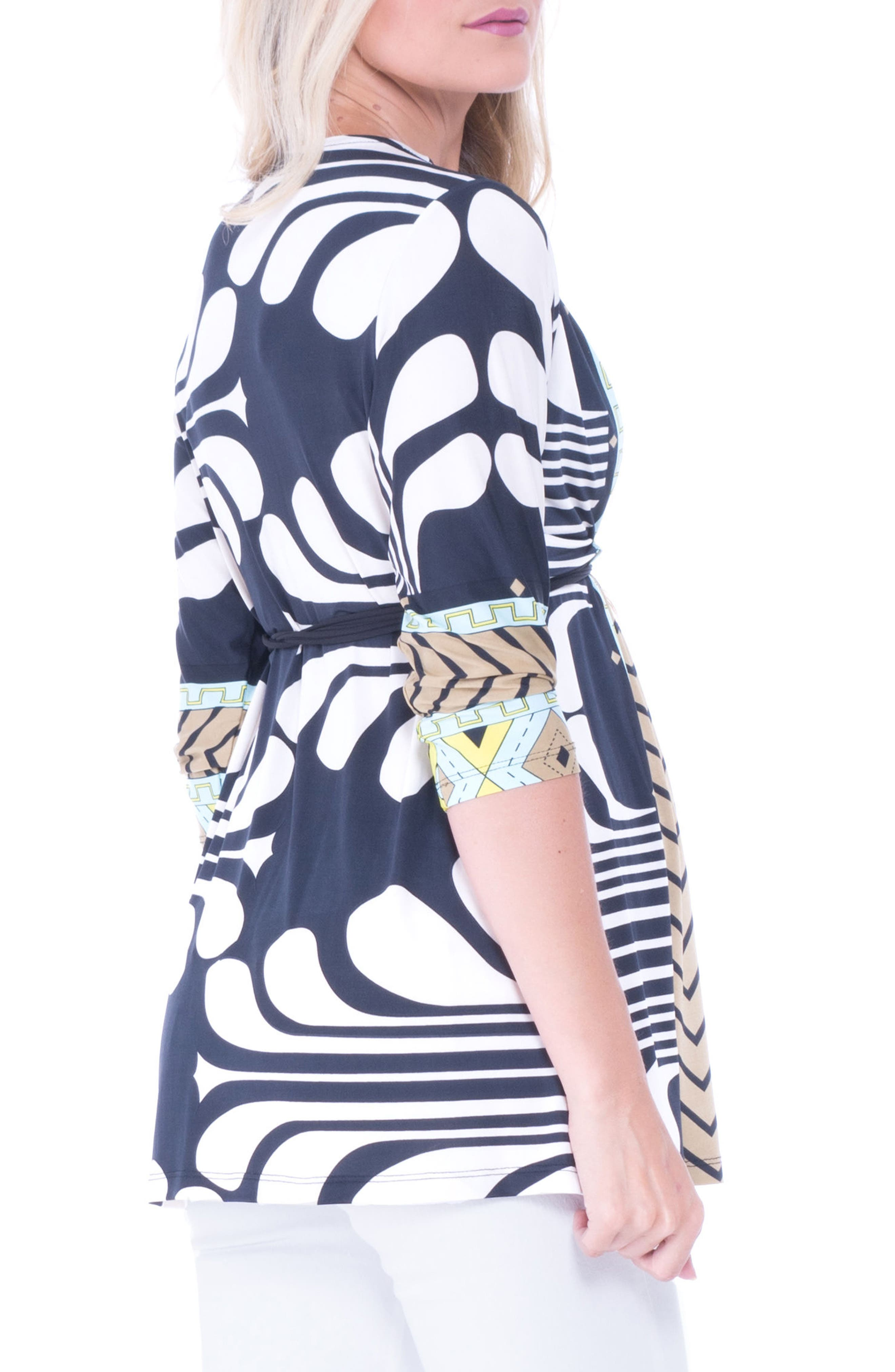 Alternate Image 2  - Olian Print Drawstring Maternity Top
