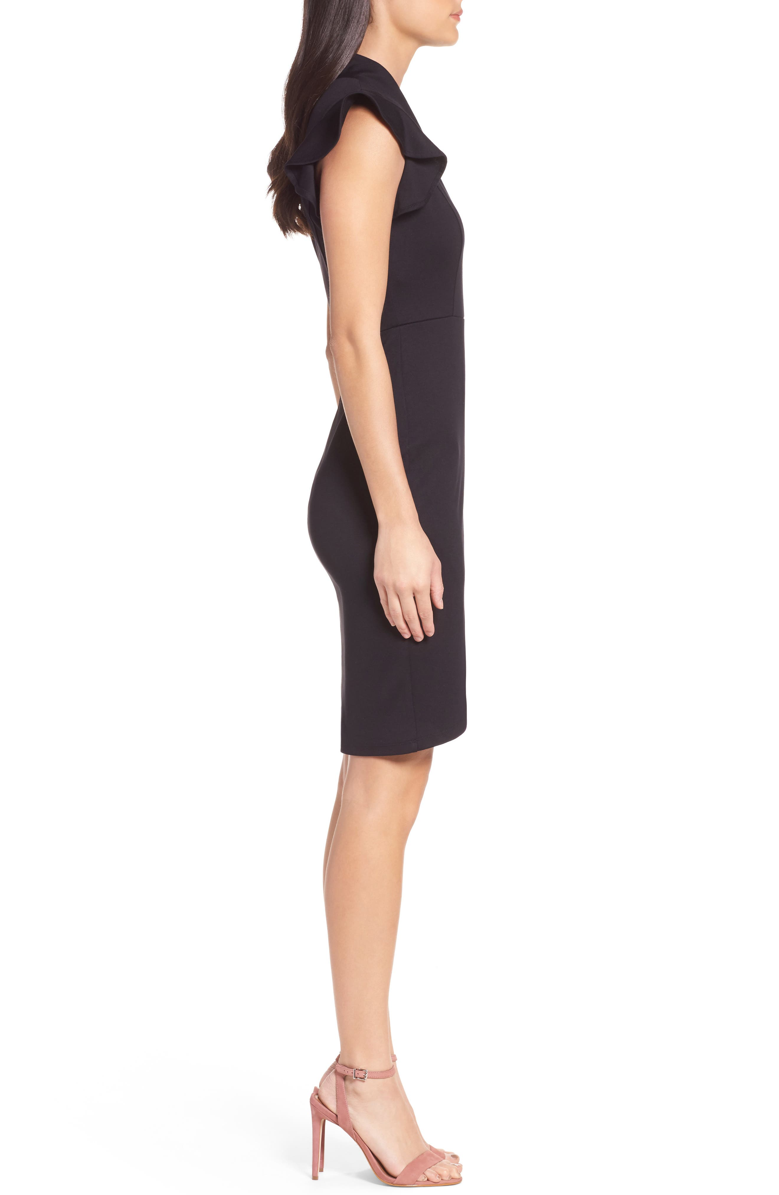 Flutter Sleeve Sheath Dress,                             Alternate thumbnail 3, color,                             Black