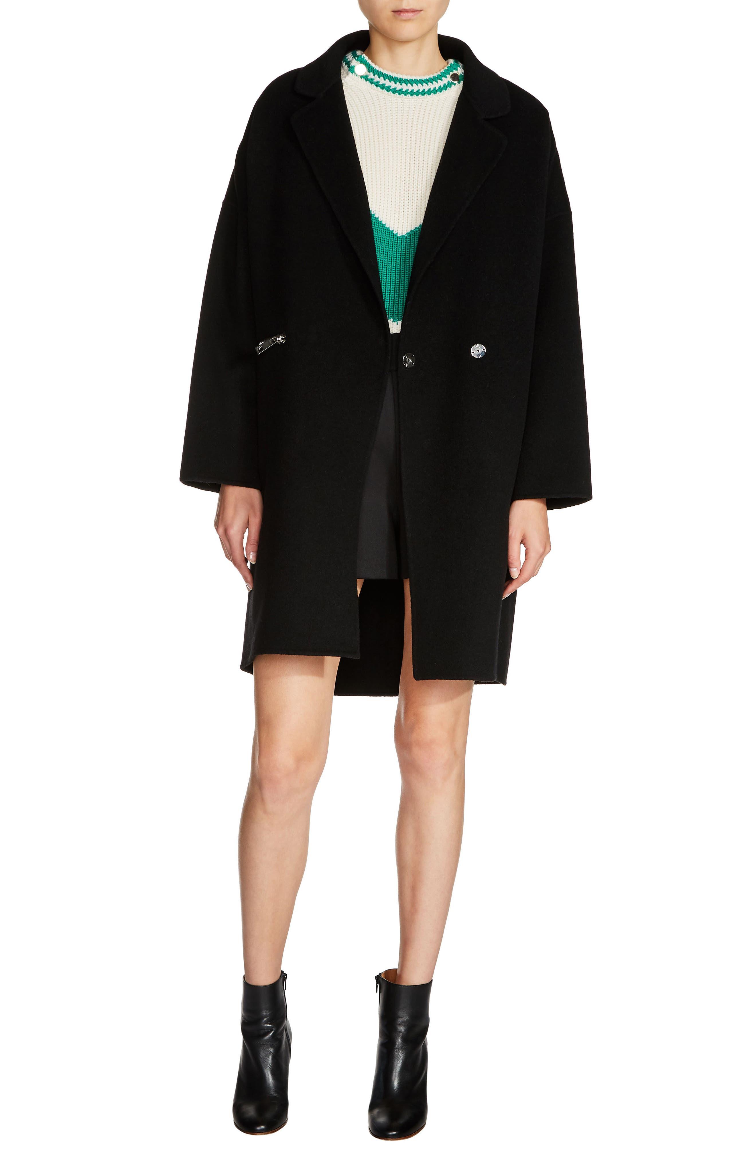 Zip Pocket Double-Face Coat,                             Main thumbnail 1, color,                             Black