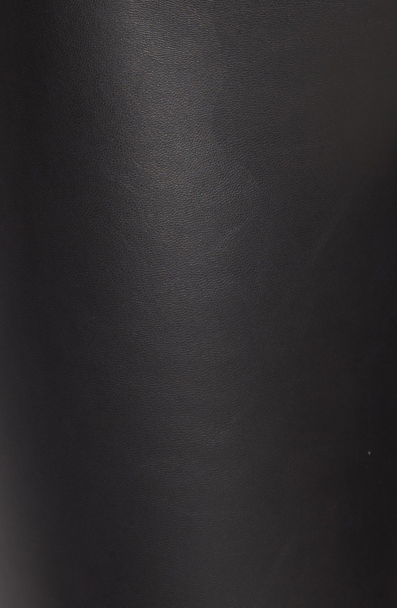 Zip Cuff Faux Leather Moto Leggings,                             Alternate thumbnail 5, color,                             Black