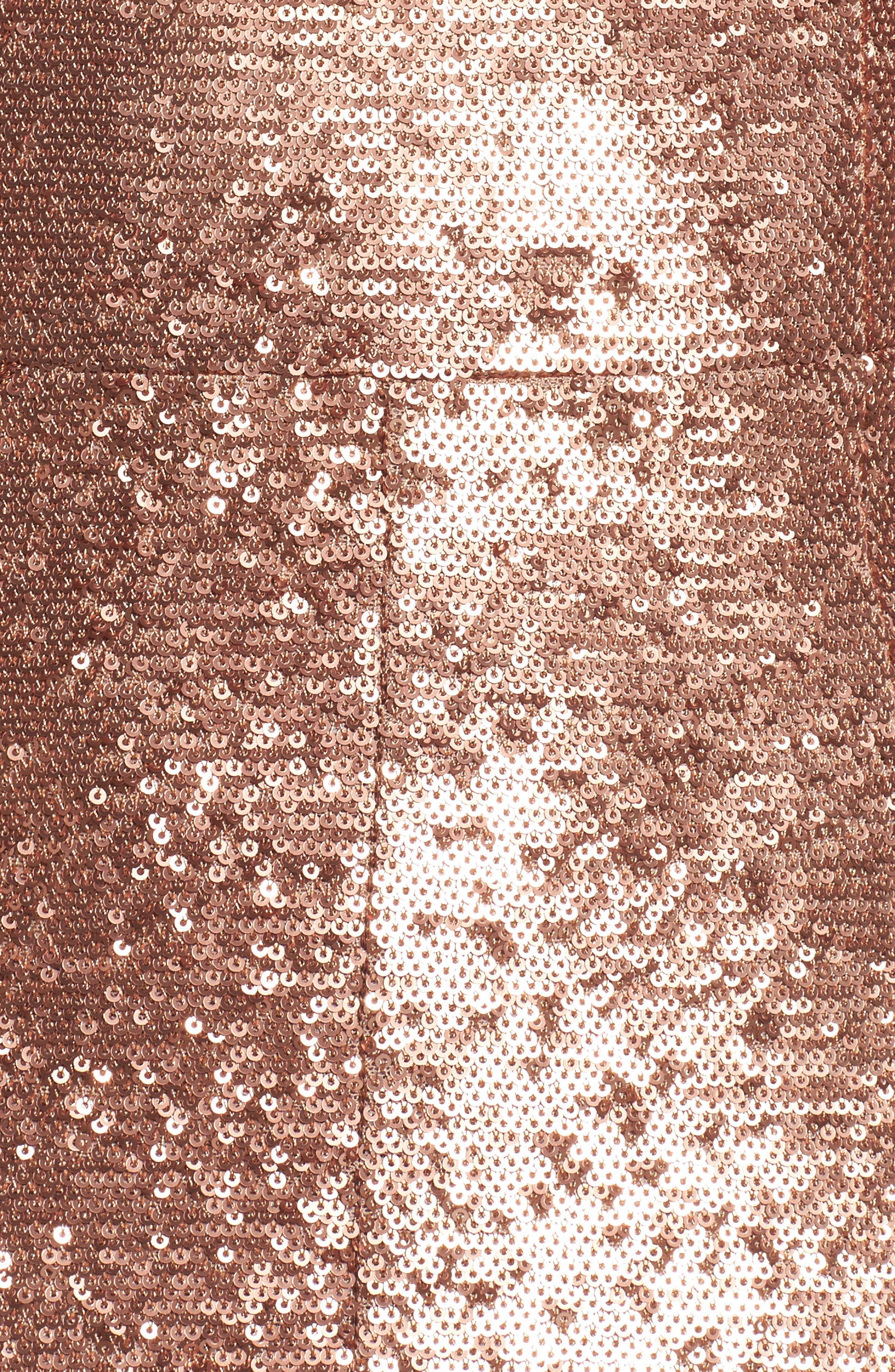 Illuminated Sequin Ruffle Midi Dress,                             Alternate thumbnail 6, color,                             Copper