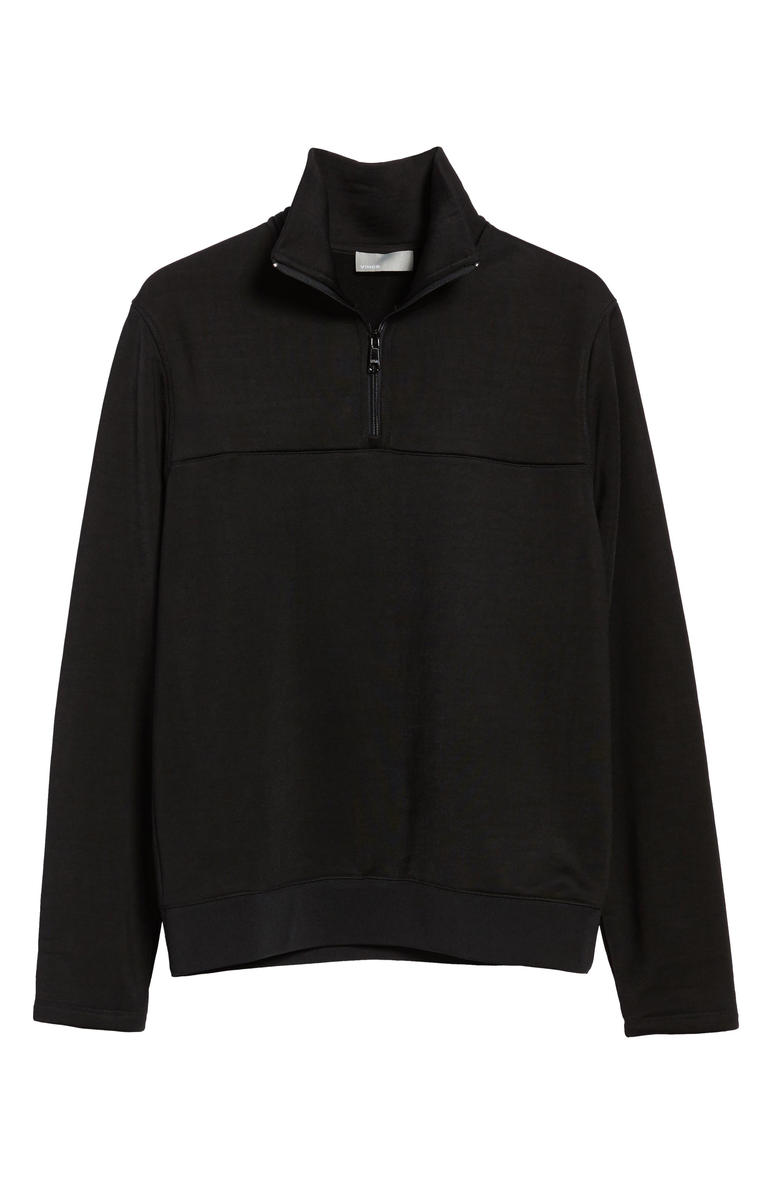 Quarter Zip Pullover,                             Alternate thumbnail 6, color,                             Black