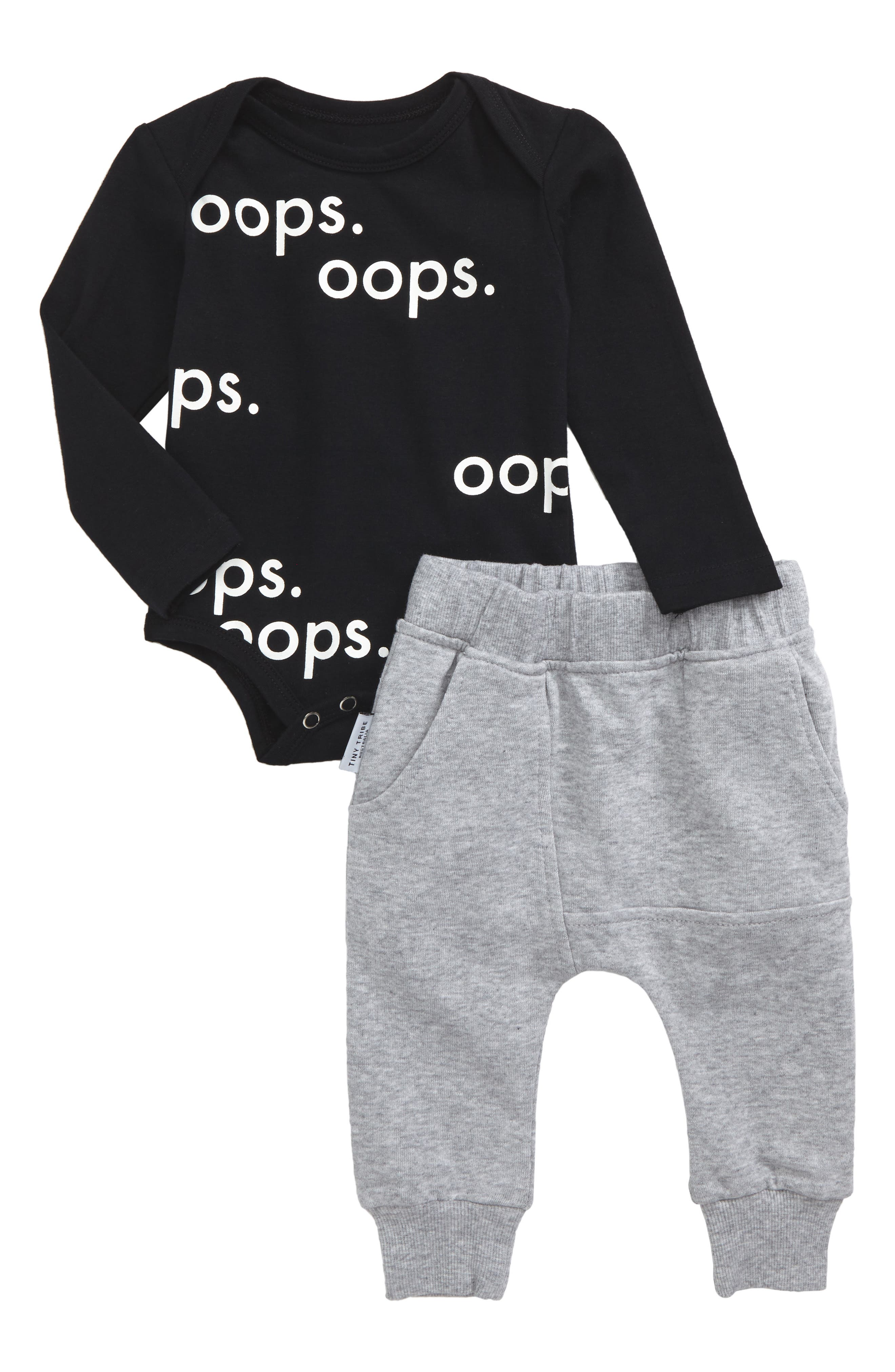 Oops Bodysuit & Sweatpants Set,                         Main,                         color, Black And White