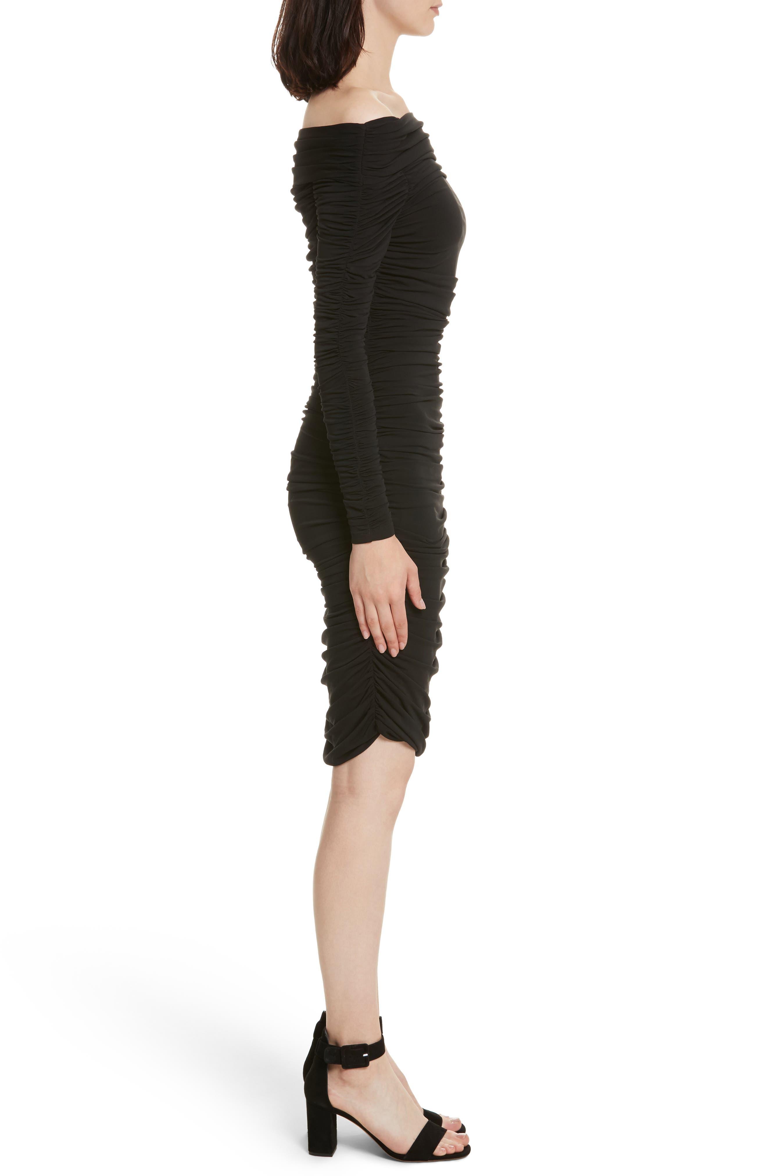 Blaise Off the Shoulder Ruched Dress,                             Alternate thumbnail 3, color,                             Black