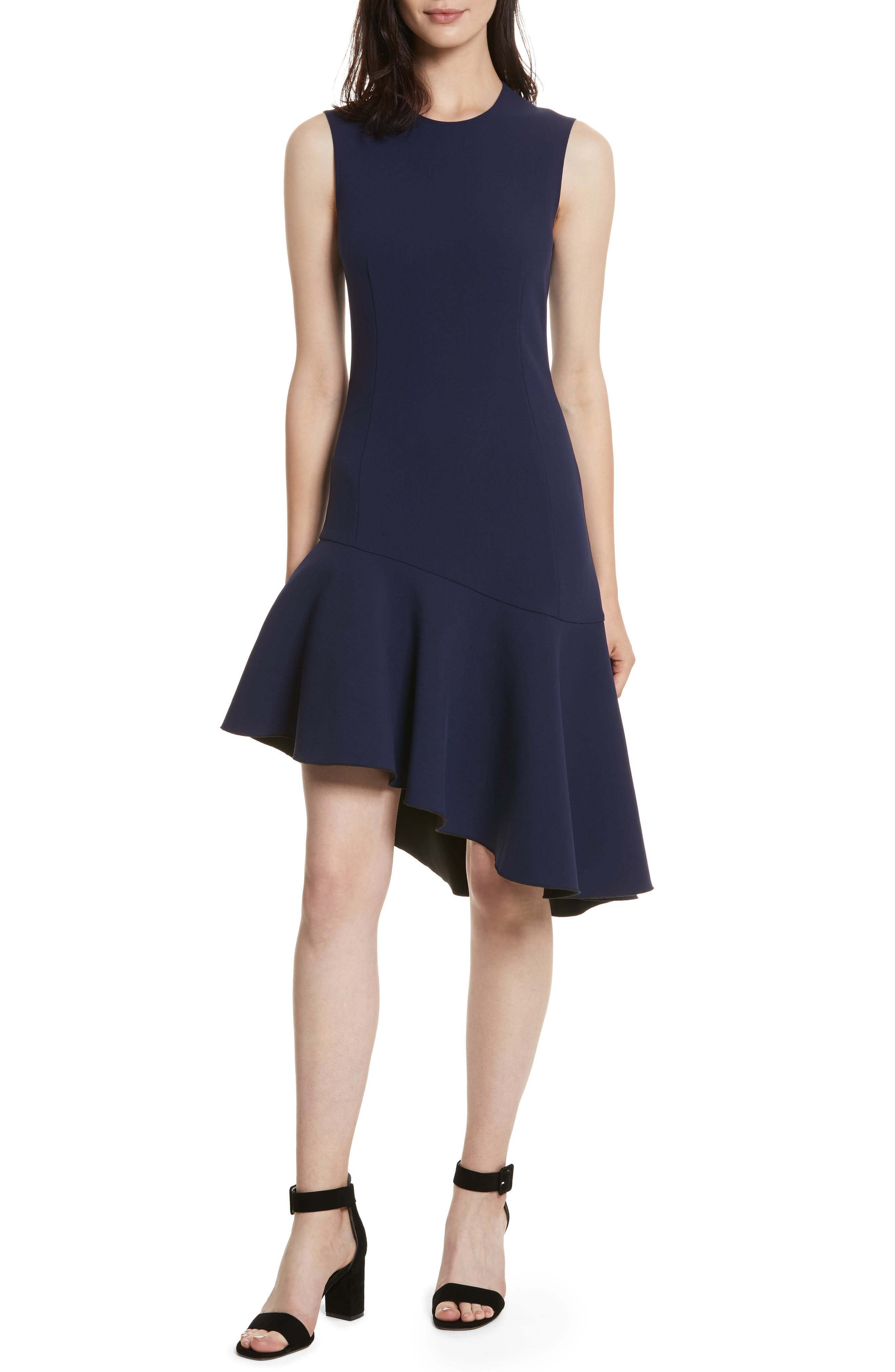 Dev Ruffle Fit & Flare Dress,                             Main thumbnail 1, color,                             Blue Violet/ Black