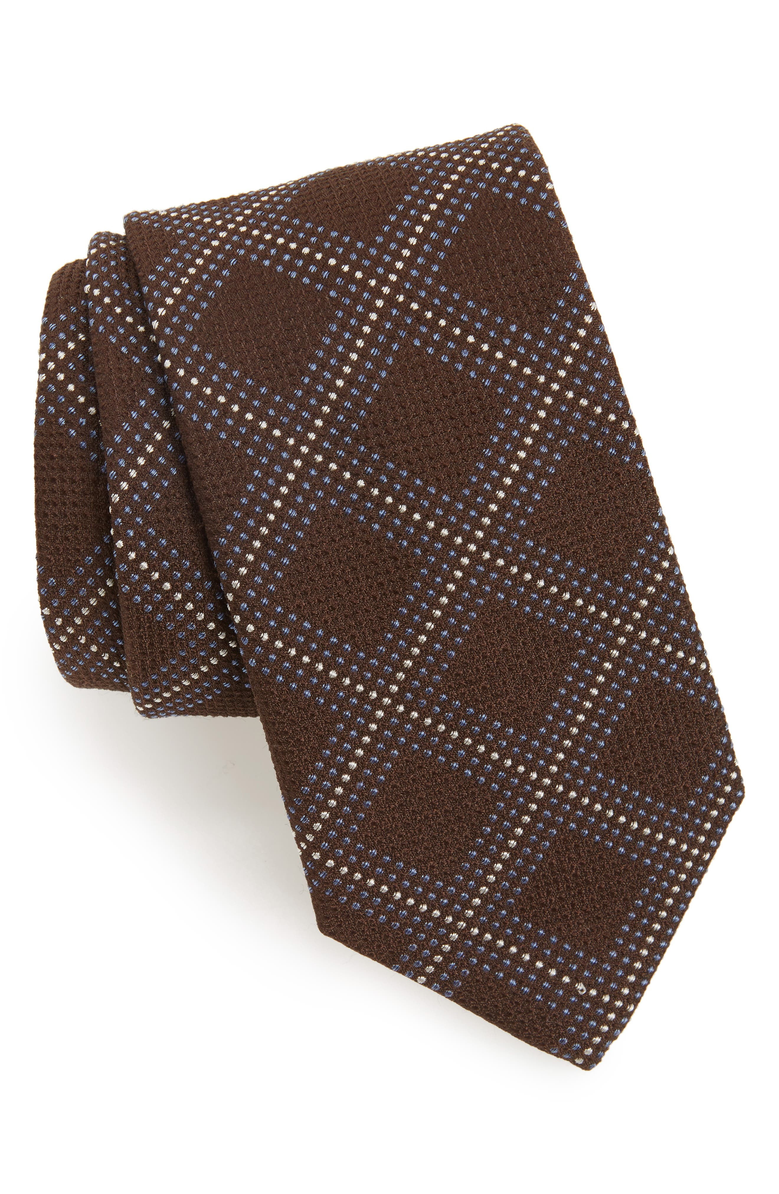 Grid Silk Blend Tie,                         Main,                         color, Brown