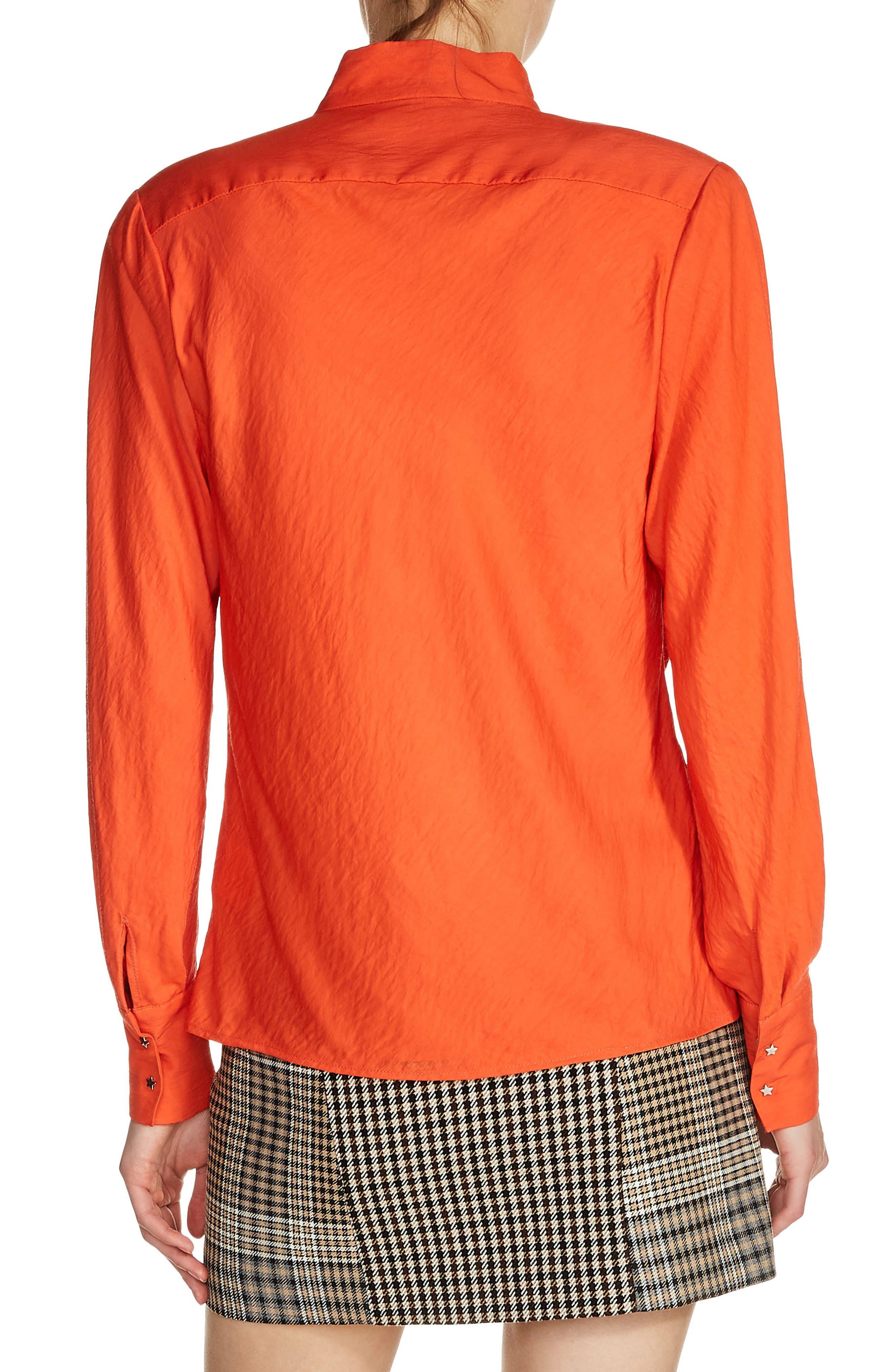 Star Snap Stand Collar Blouse,                             Alternate thumbnail 2, color,                             Orange