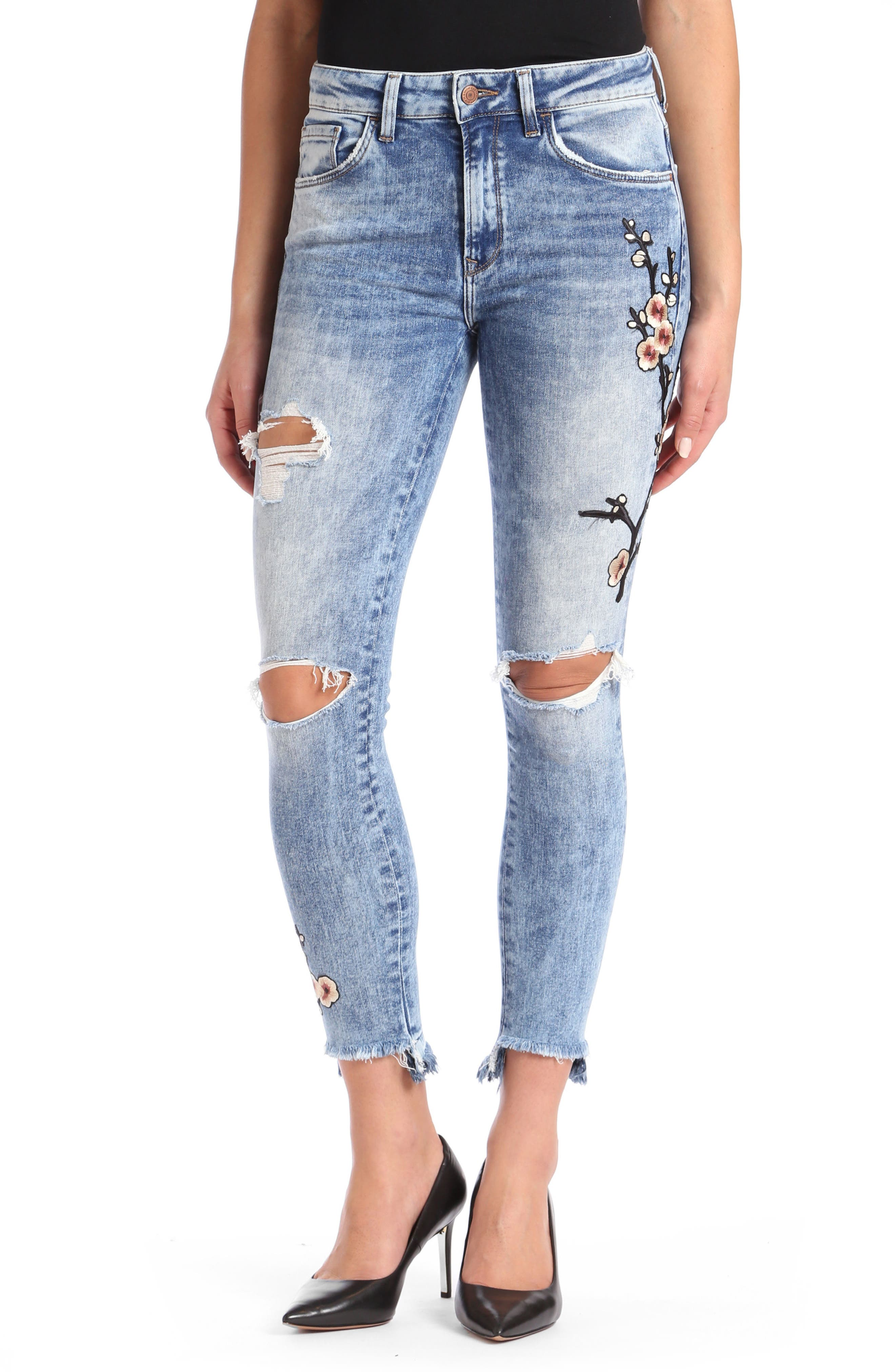 Mavi Tess Super Skinny High-Waist Jeans,                         Main,                         color, Mid Japanese Embroidery