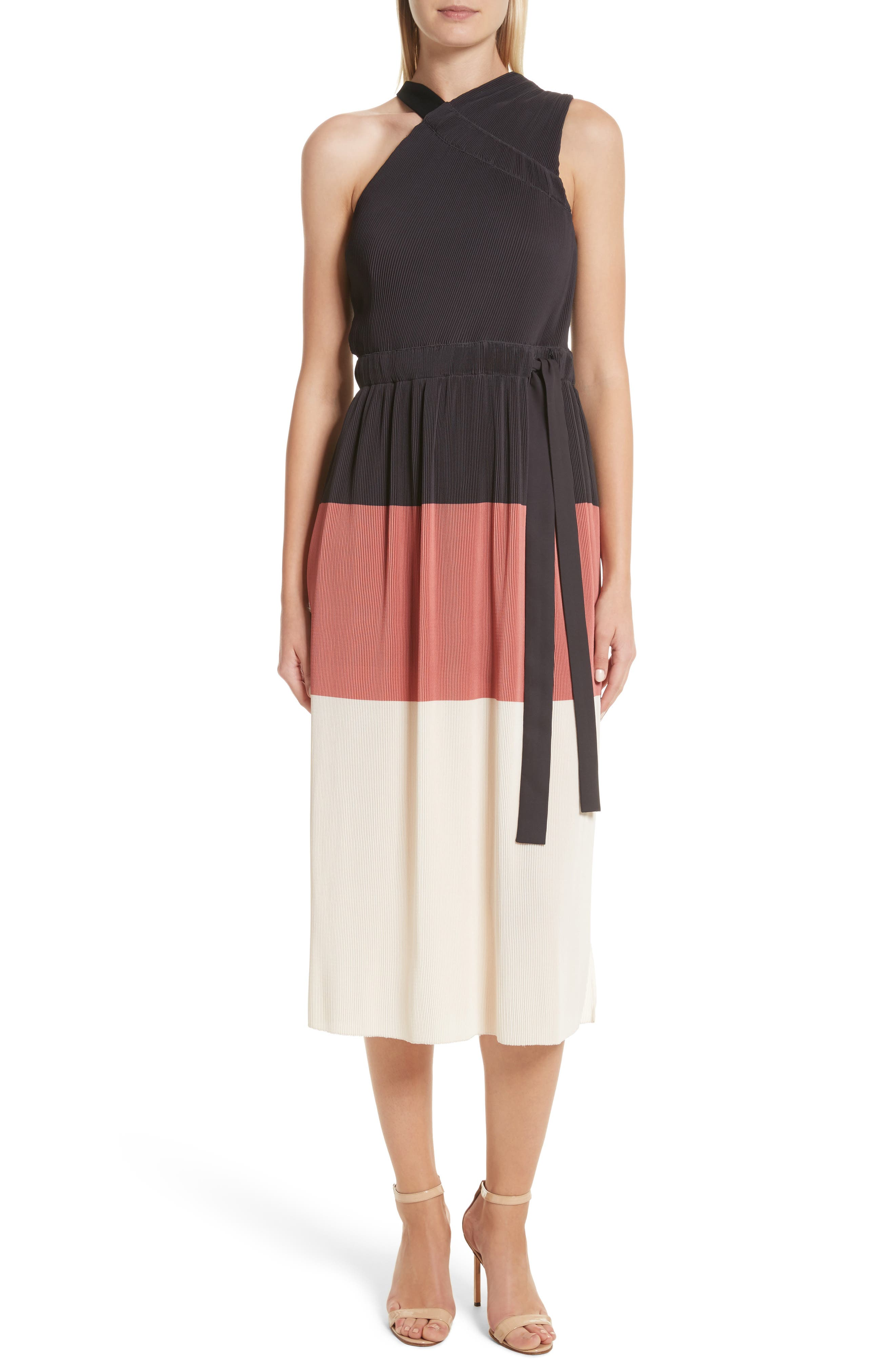 Derek Lam 10 Crosby Colorblock Pleated Dress