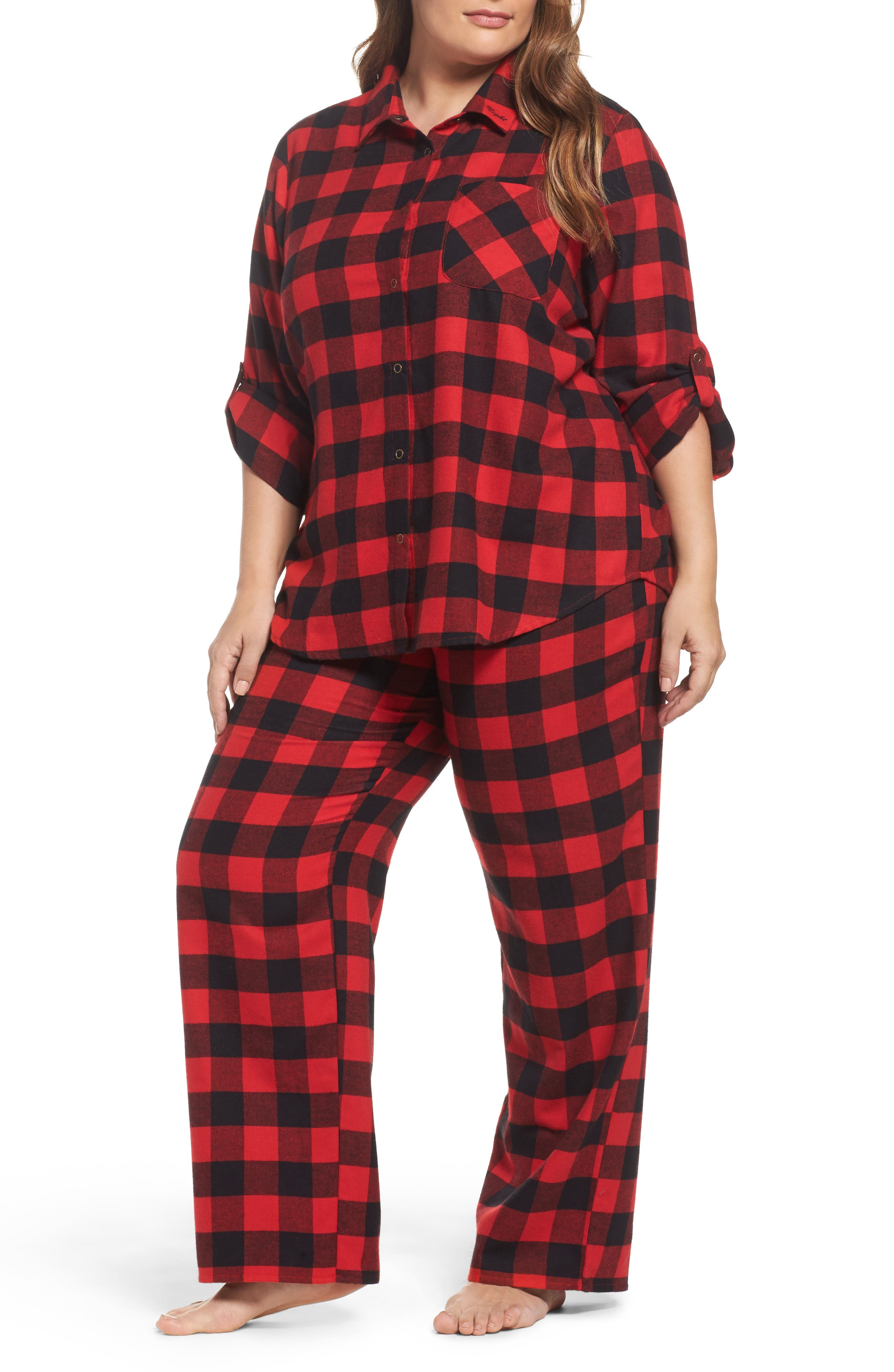 Main Image - Make + Model Flannel Pajamas (Plus Size)