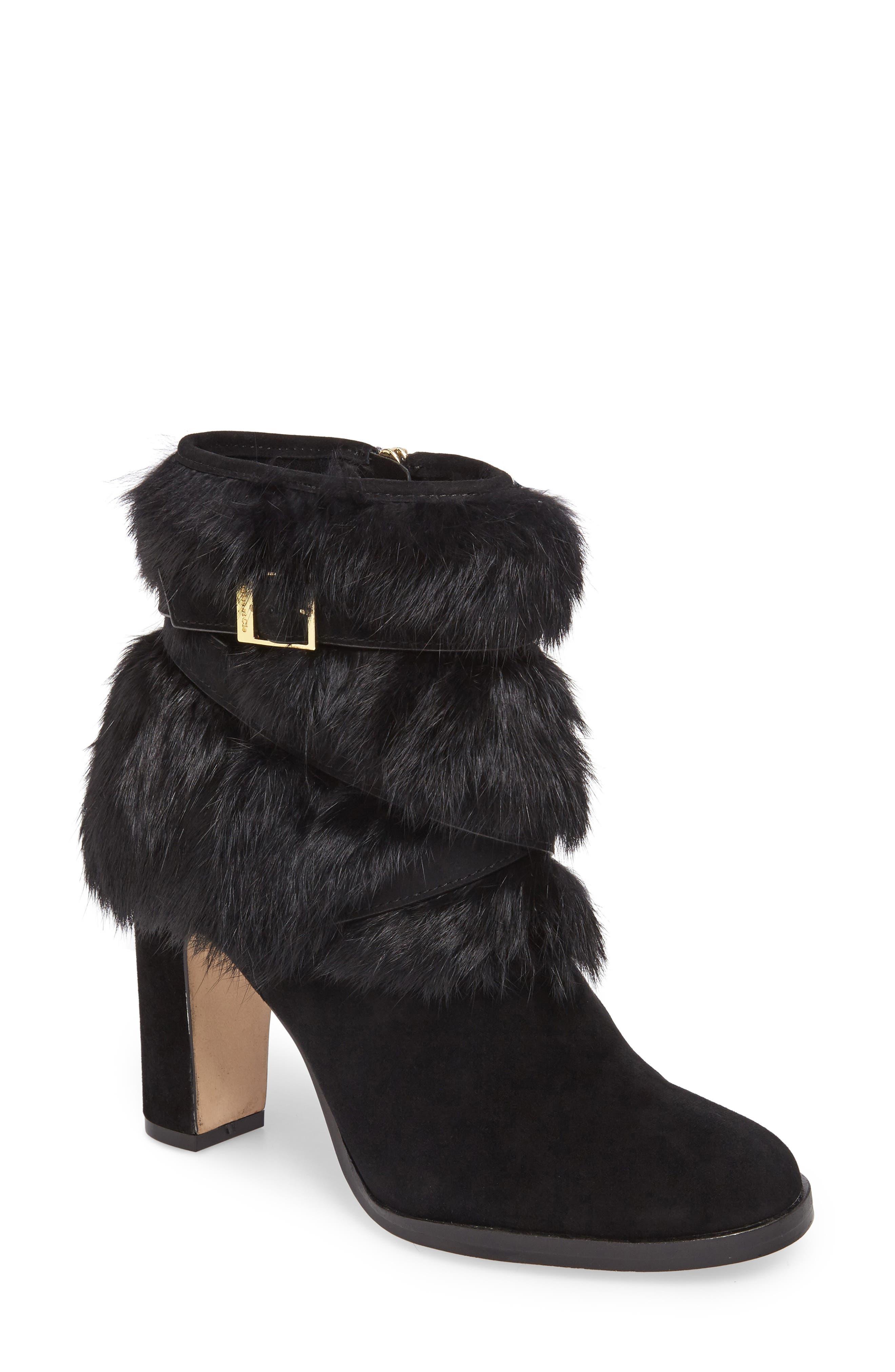 Yuma Genuine Rabbit Fur Bootie,                         Main,                         color, Black Suede