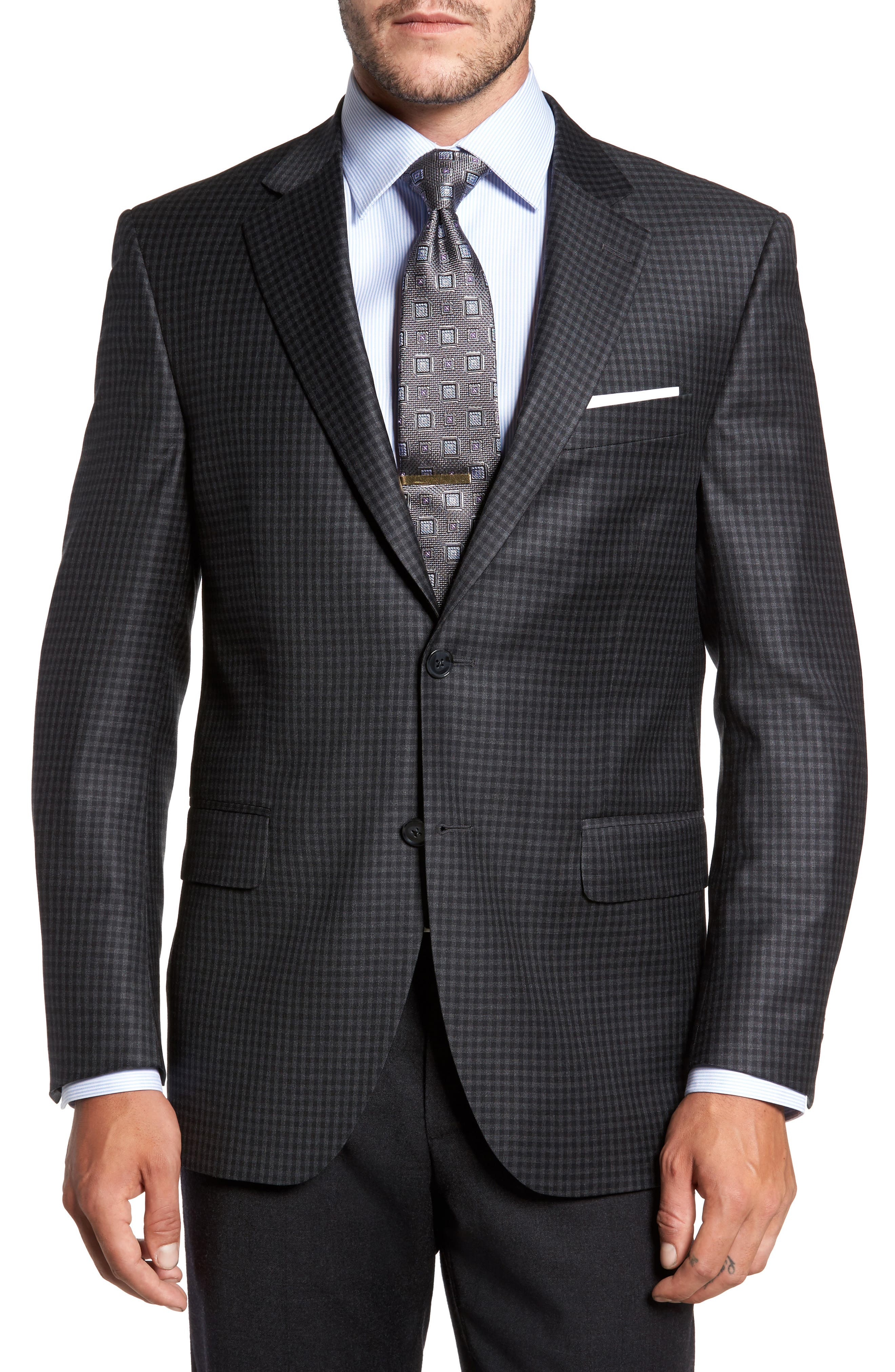 Flynn Classic Fit Check Wool Sport Coat,                         Main,                         color, Charcoal