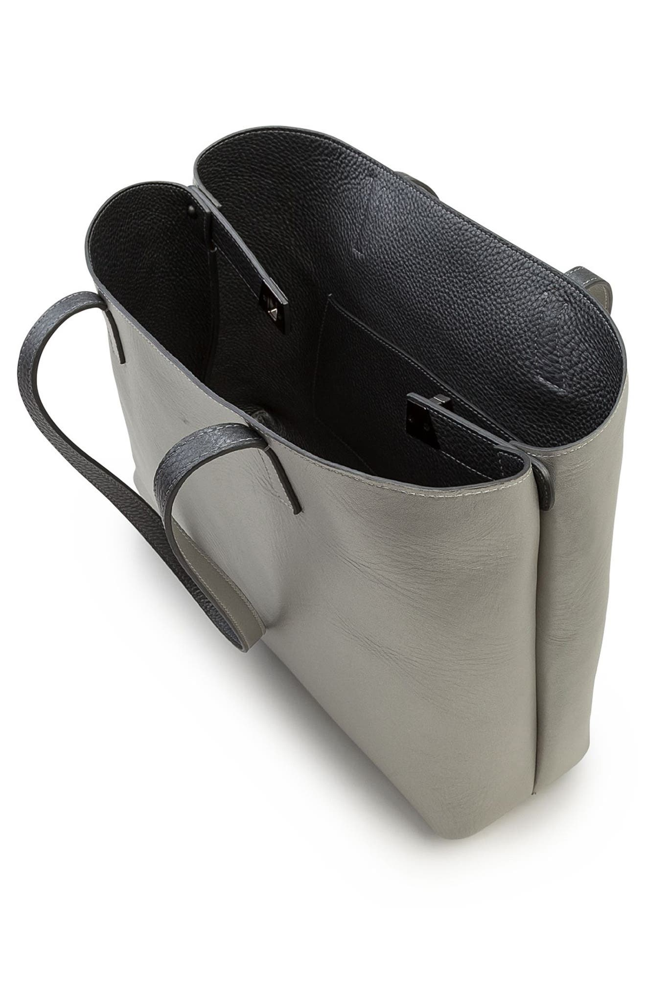 Small AI Reversible Leather Tote,                             Alternate thumbnail 4, color,                             Grey Metallic/ Light Silver