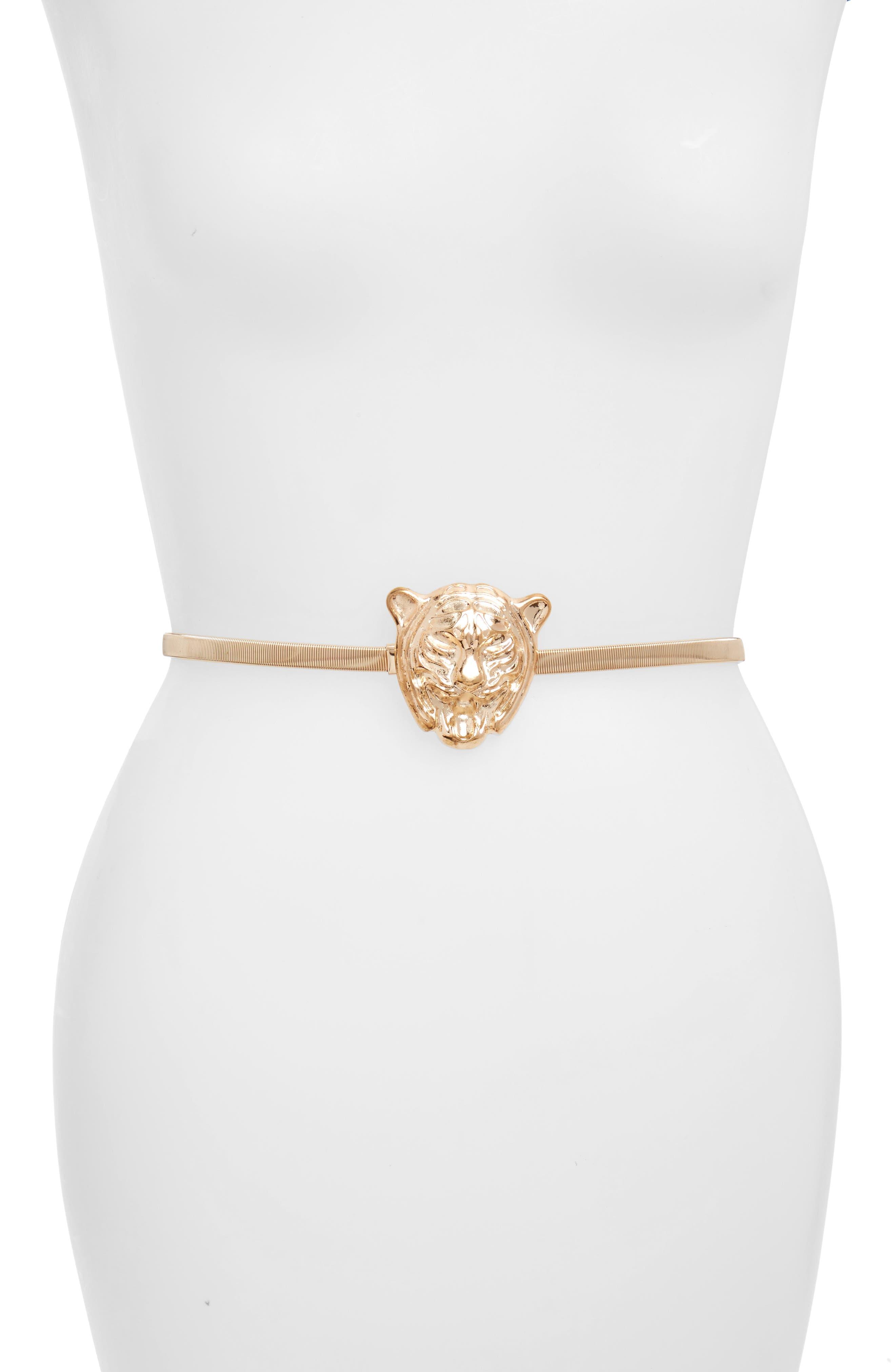 Animal Head Stretch Belt,                         Main,                         color, Gold