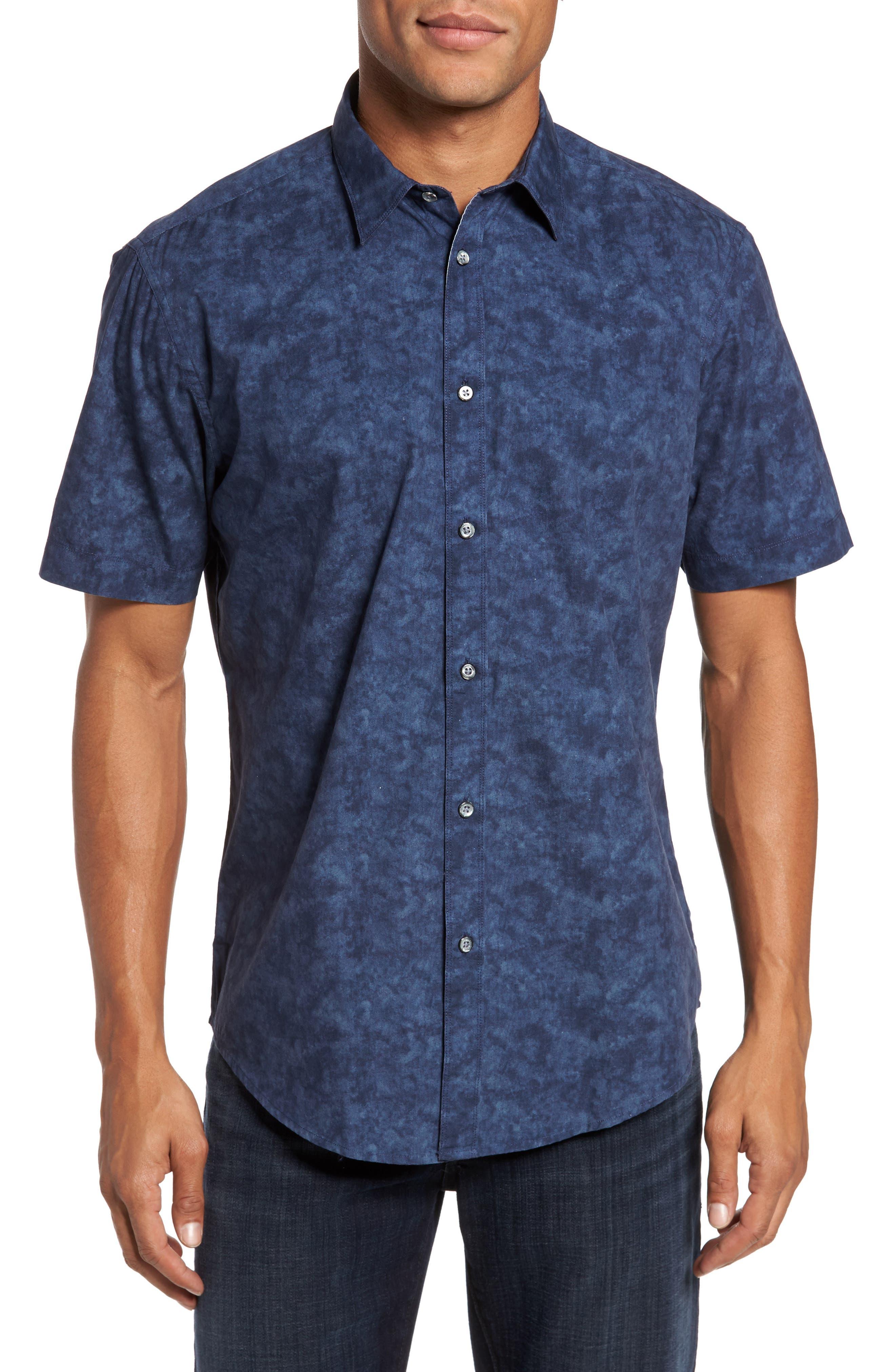 Seaside Regular Fit Print Sport Shirt,                         Main,                         color, Midnight