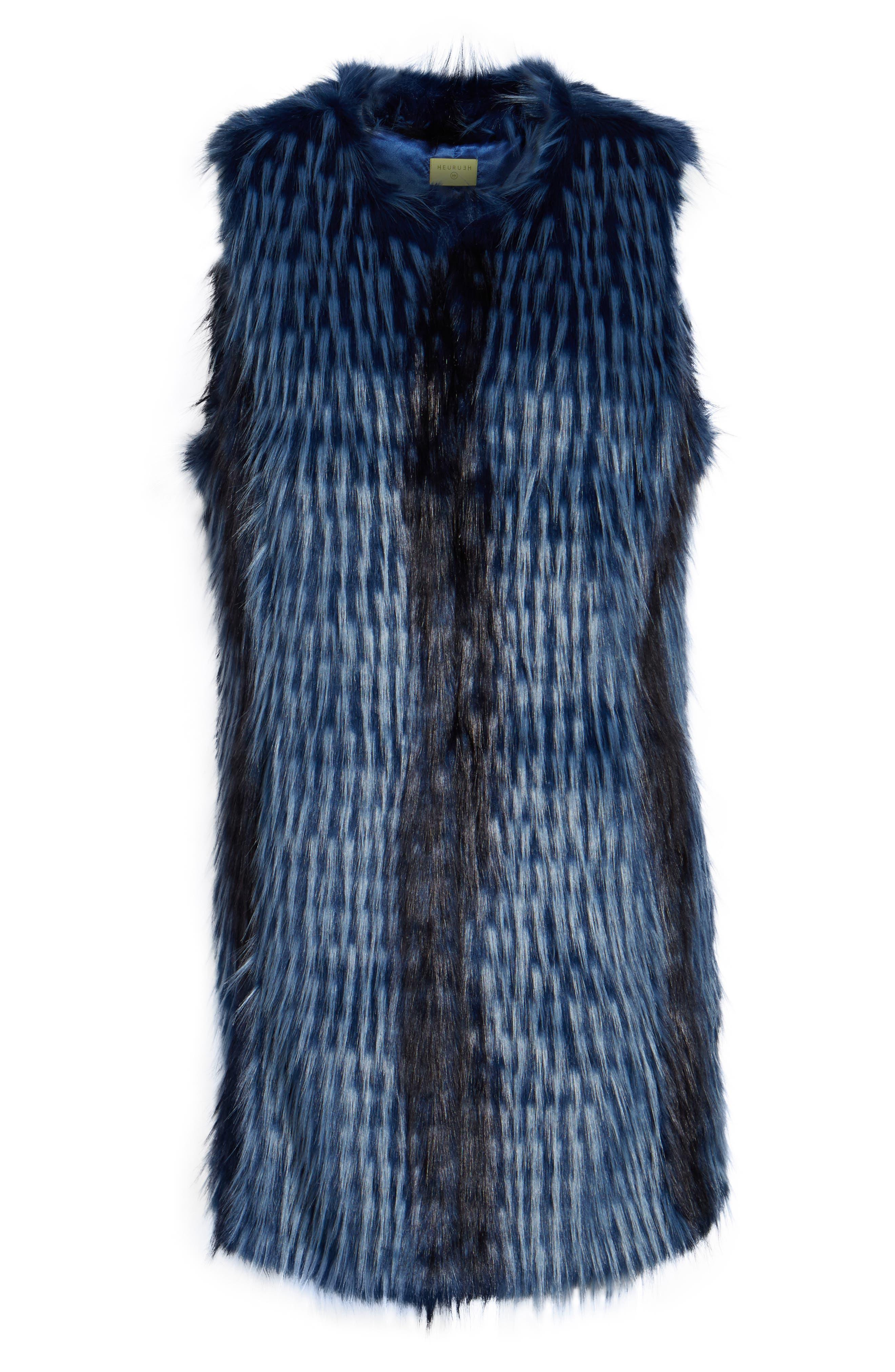 Dion Faux Fur Vest,                             Alternate thumbnail 6, color,                             Blue