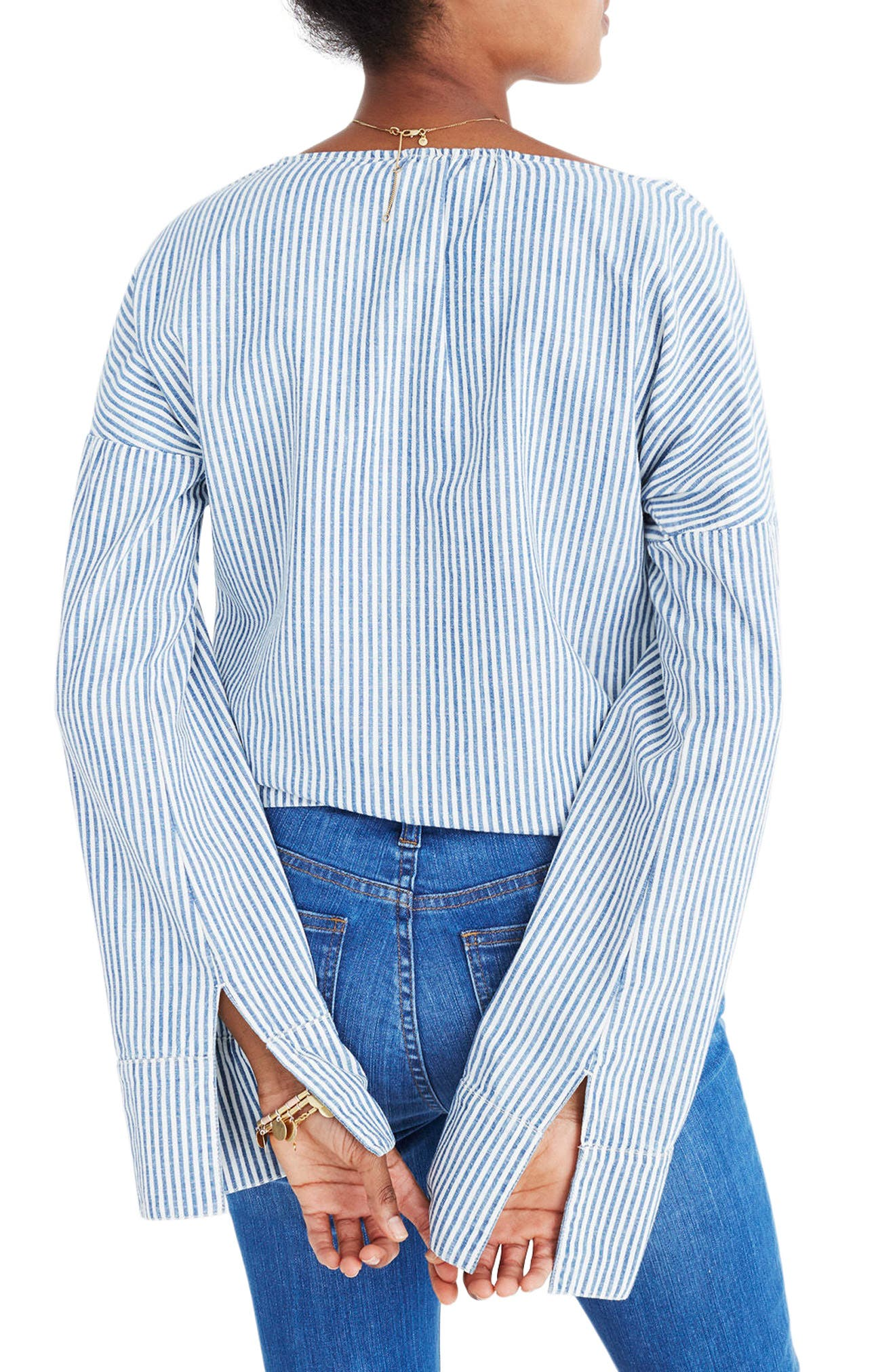 Convertible Cold Shoulder Top,                             Alternate thumbnail 2, color,                             Chambray Stripe