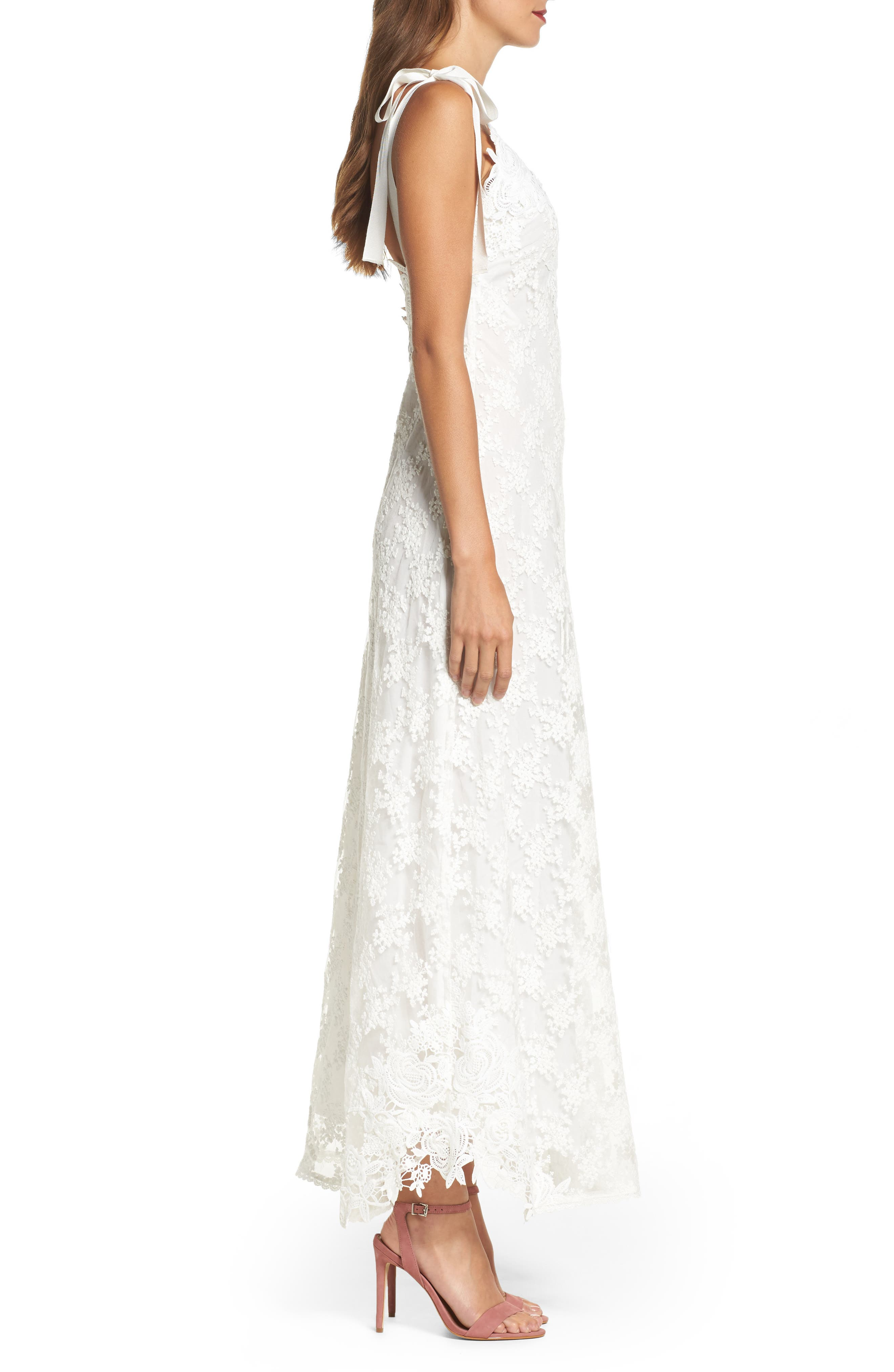 Alternate Image 3  - Foxiedox August Shoulder Tie Lace Maxi Dress
