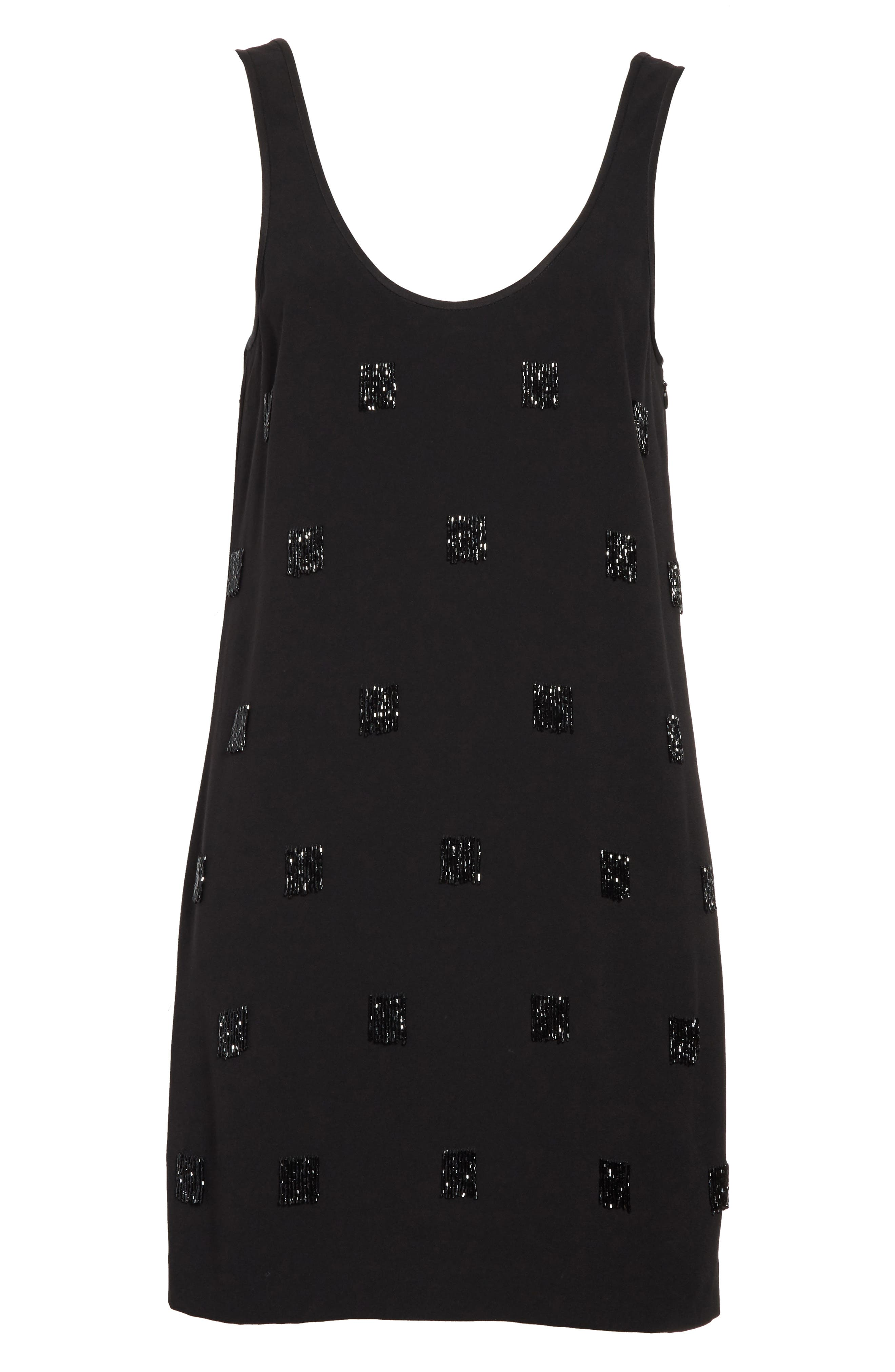 Greene Beaded Fringe Minidress,                             Alternate thumbnail 6, color,                             Black