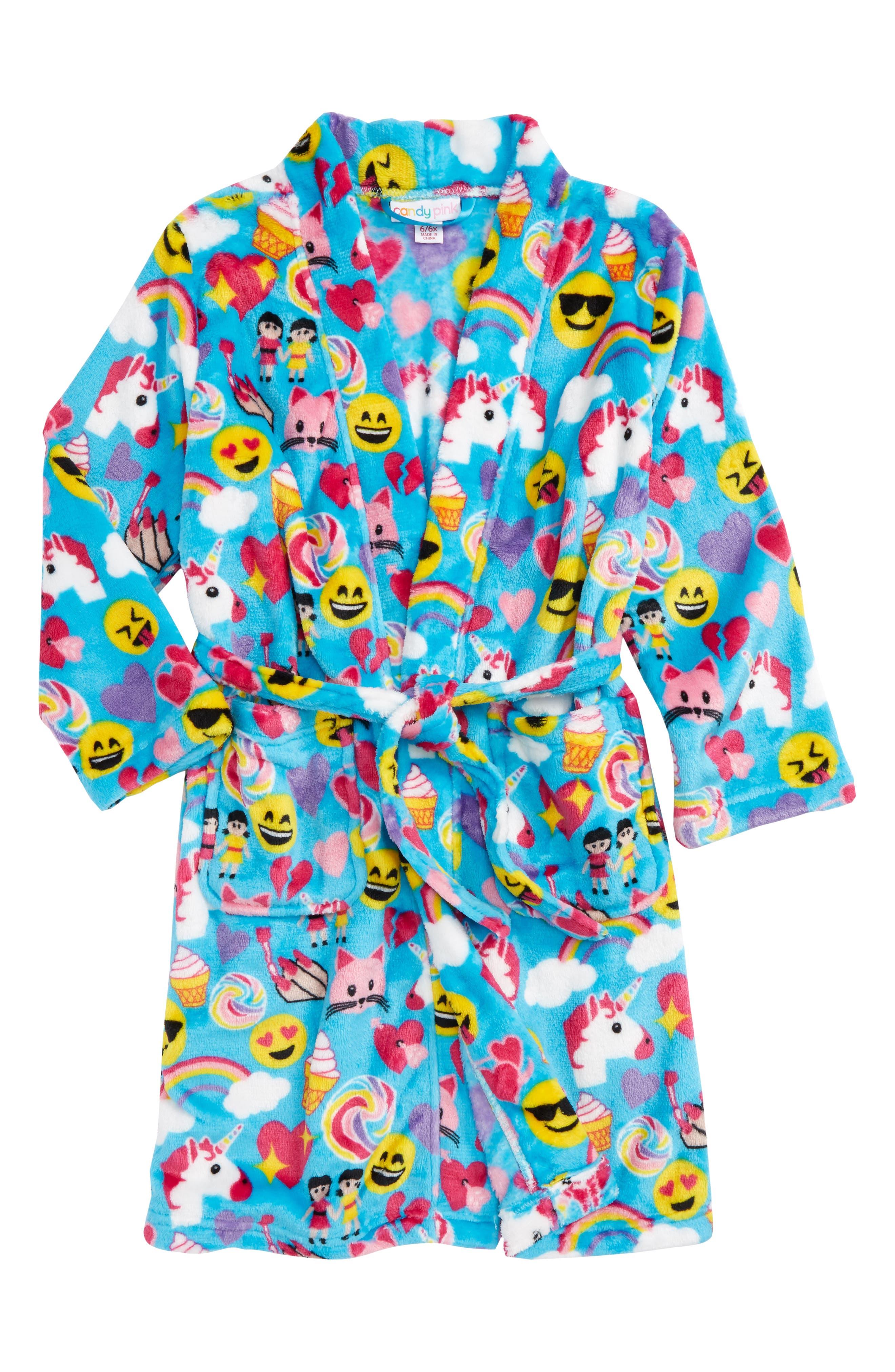 Main Image - Candy Pink Holiday Print Robe (Little Girls & Big Girls)