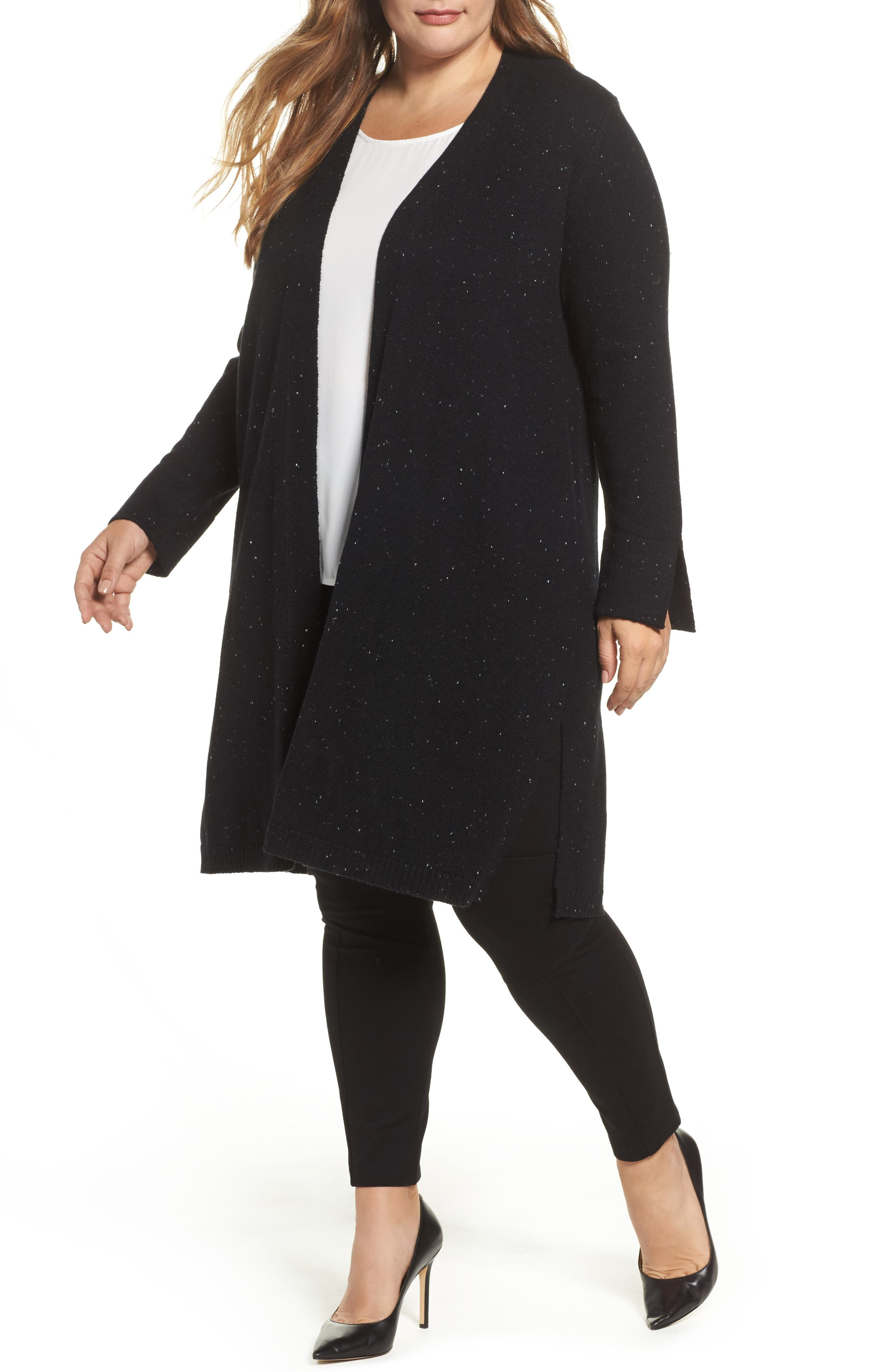 Vince Camuto Long Flecked Knit Cardigan