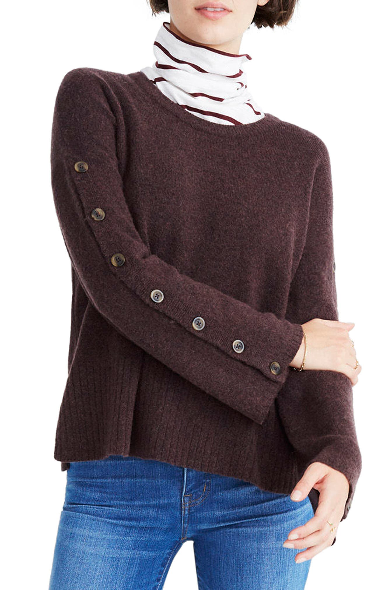 Button Sleeve Pullover Sweater,                             Main thumbnail 1, color,                             Heather Coffee