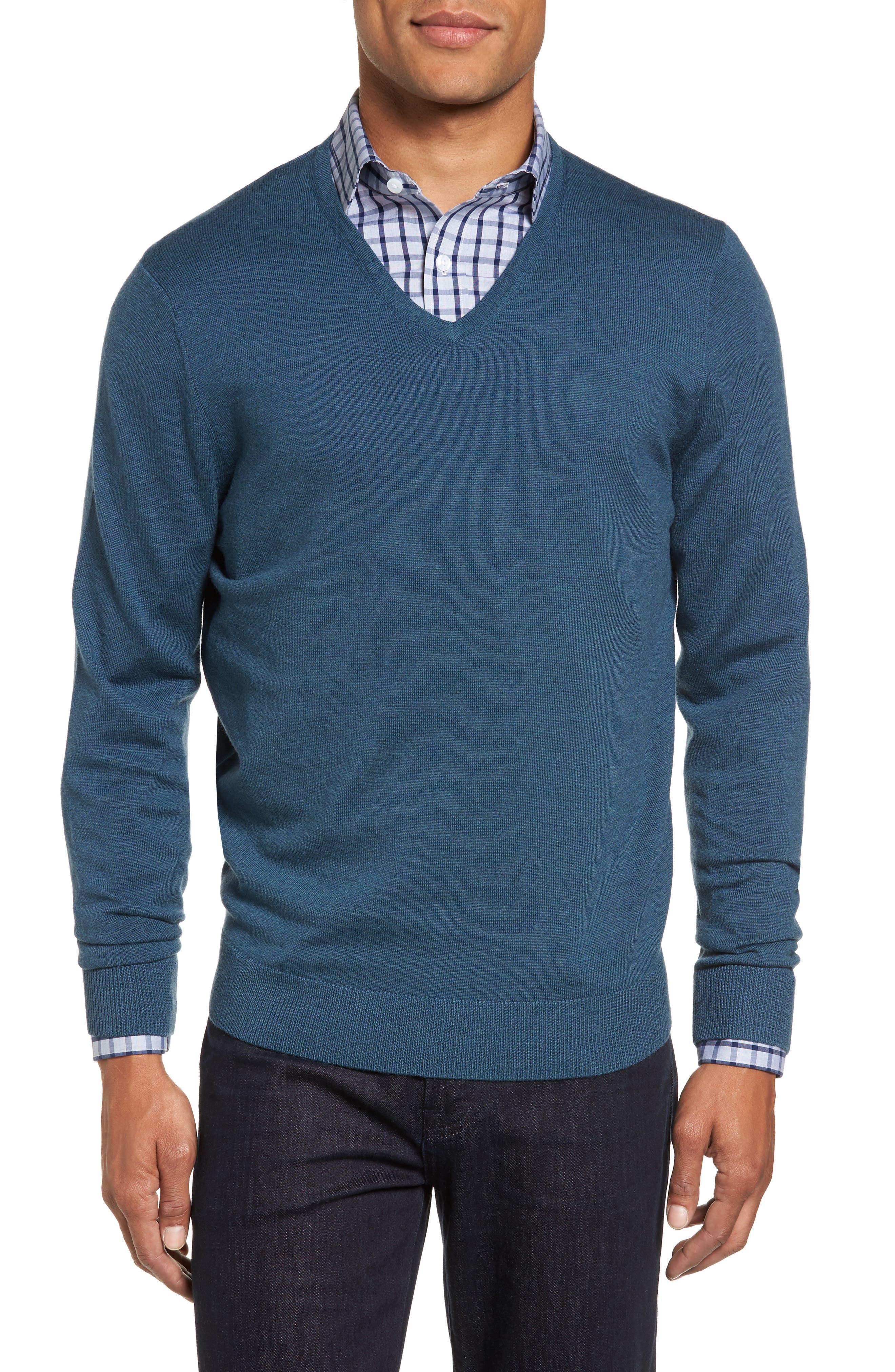 Alternate Image 1 Selected - Nordstrom Men's Shop V-Neck Merino Wool Sweater (Regular & Tall)