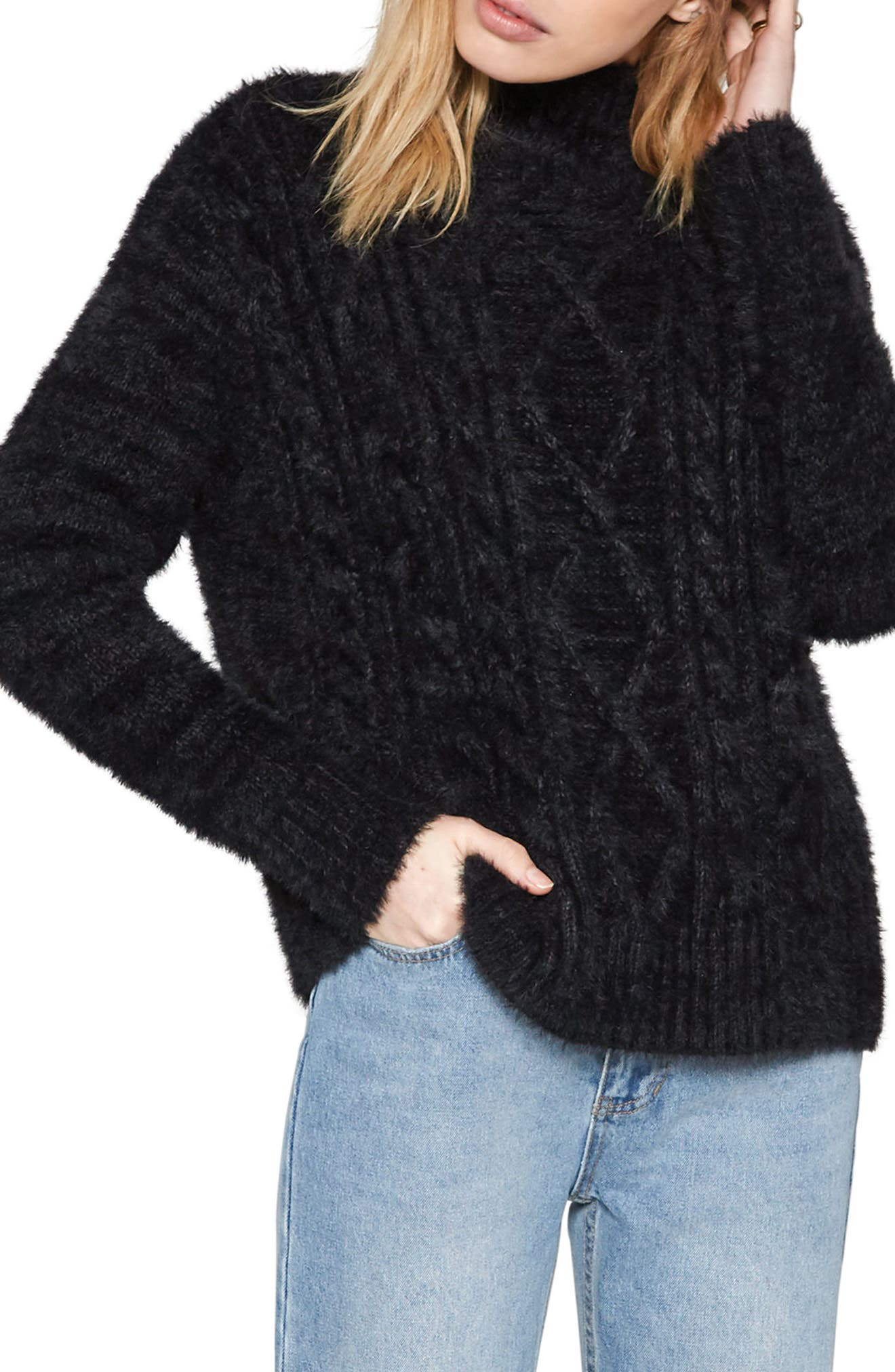 Cool Winds Cable Knit Sweater,                             Main thumbnail 1, color,                             Black