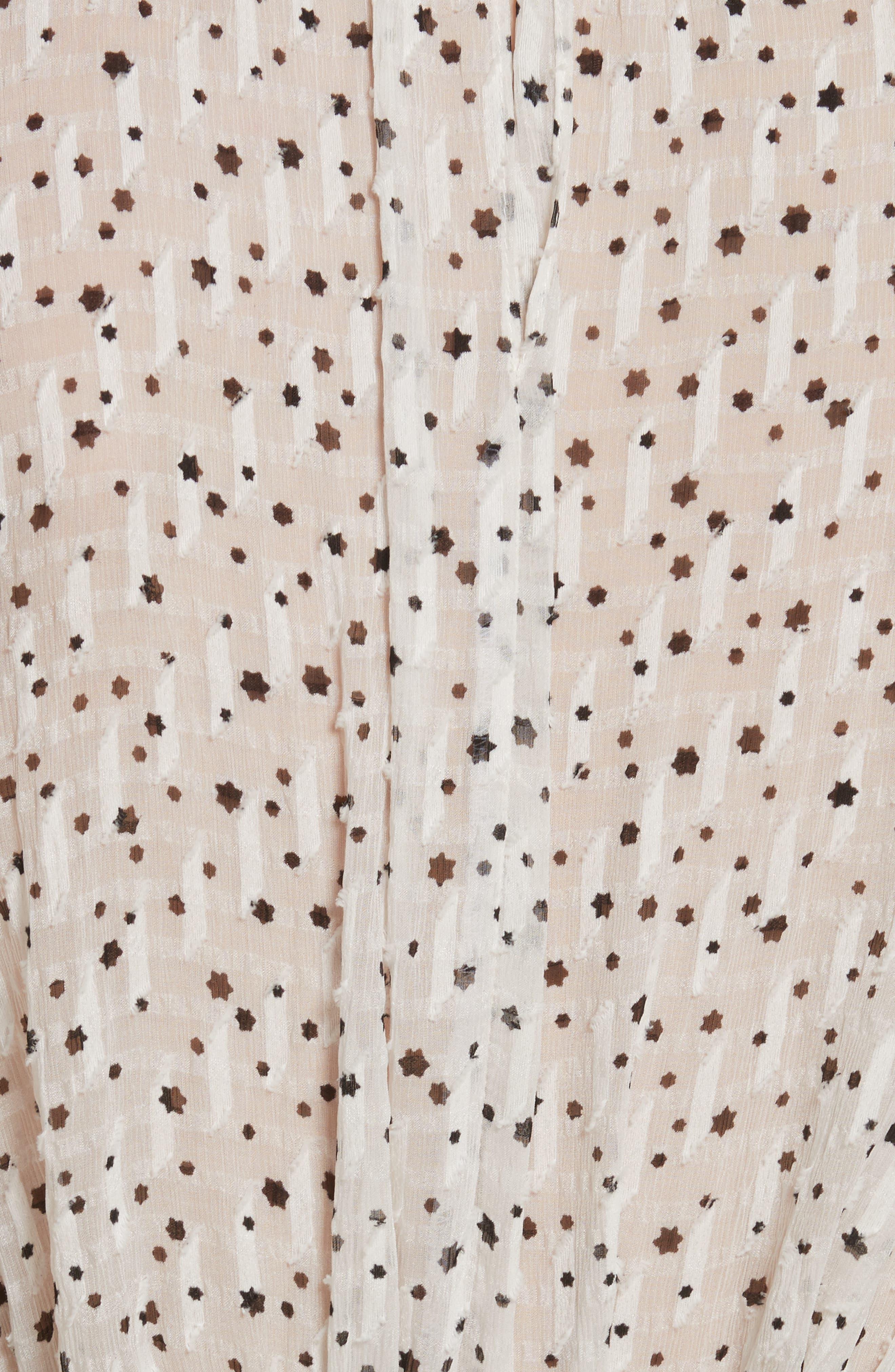 Star Tie Silk Blend Blouse,                             Alternate thumbnail 5, color,                             Snow Combo