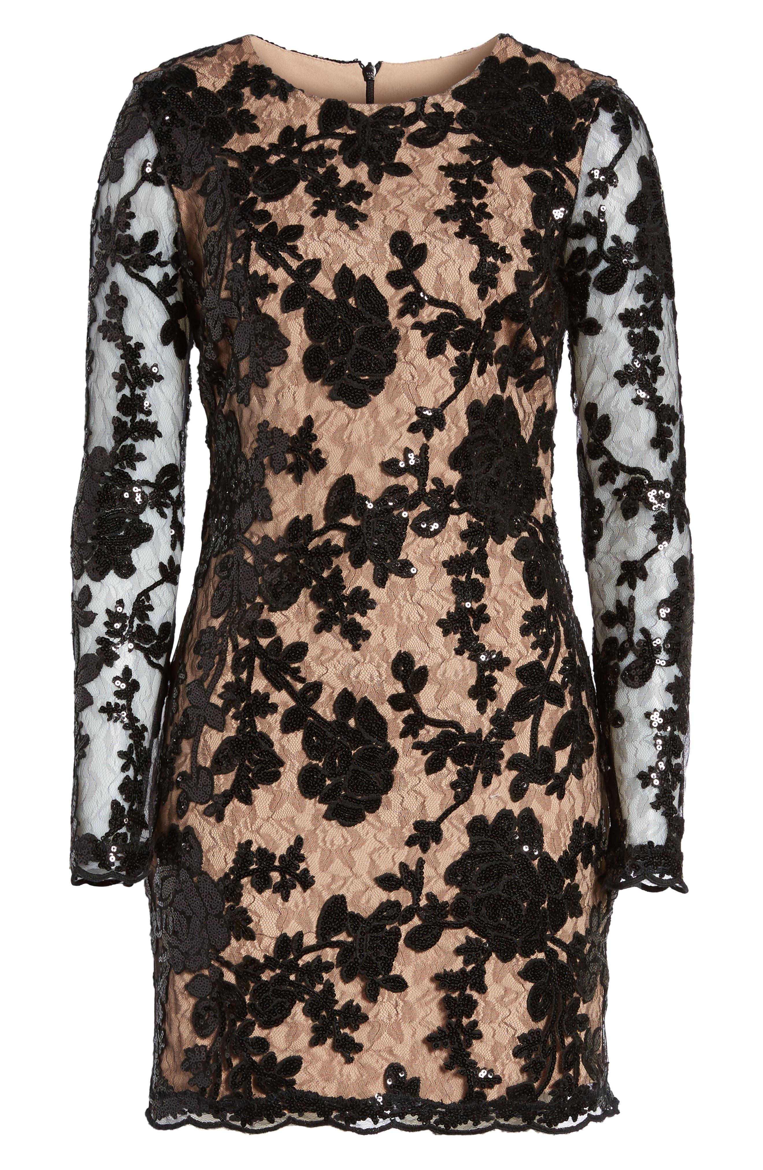 Grace A-Line Dress,                             Main thumbnail 1, color,                             Black/ Nude